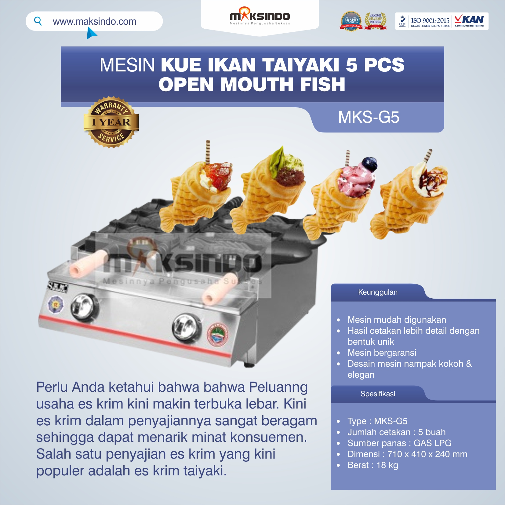 Mesin Kue Ikan Taiyaki 5 Pcs – Open Mouth Fish