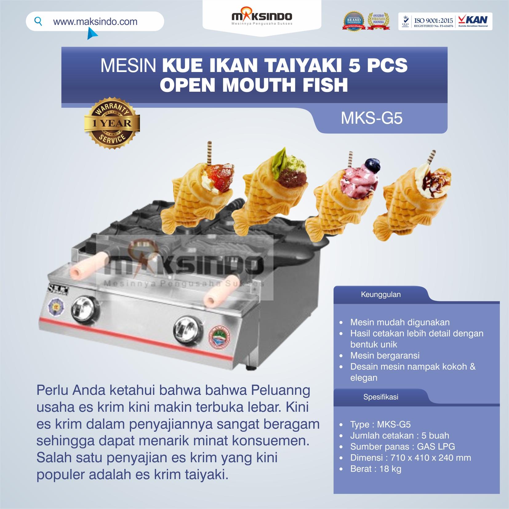 Mesin Kue Ikan Taiyaki 5 Pcs – Open Mouth Fish