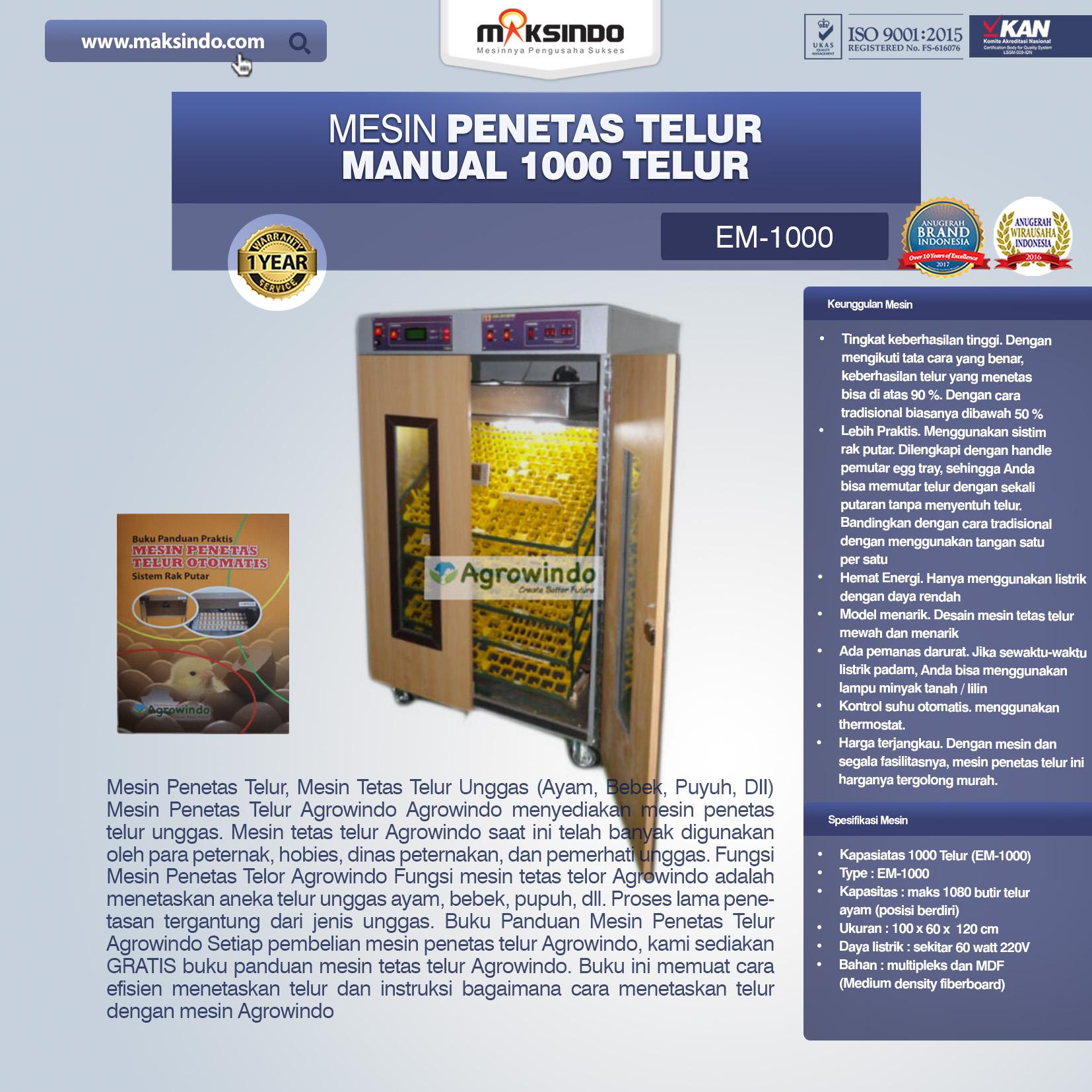 Mesin Penetas Telur Manual 1000 Telur (EM-1000)