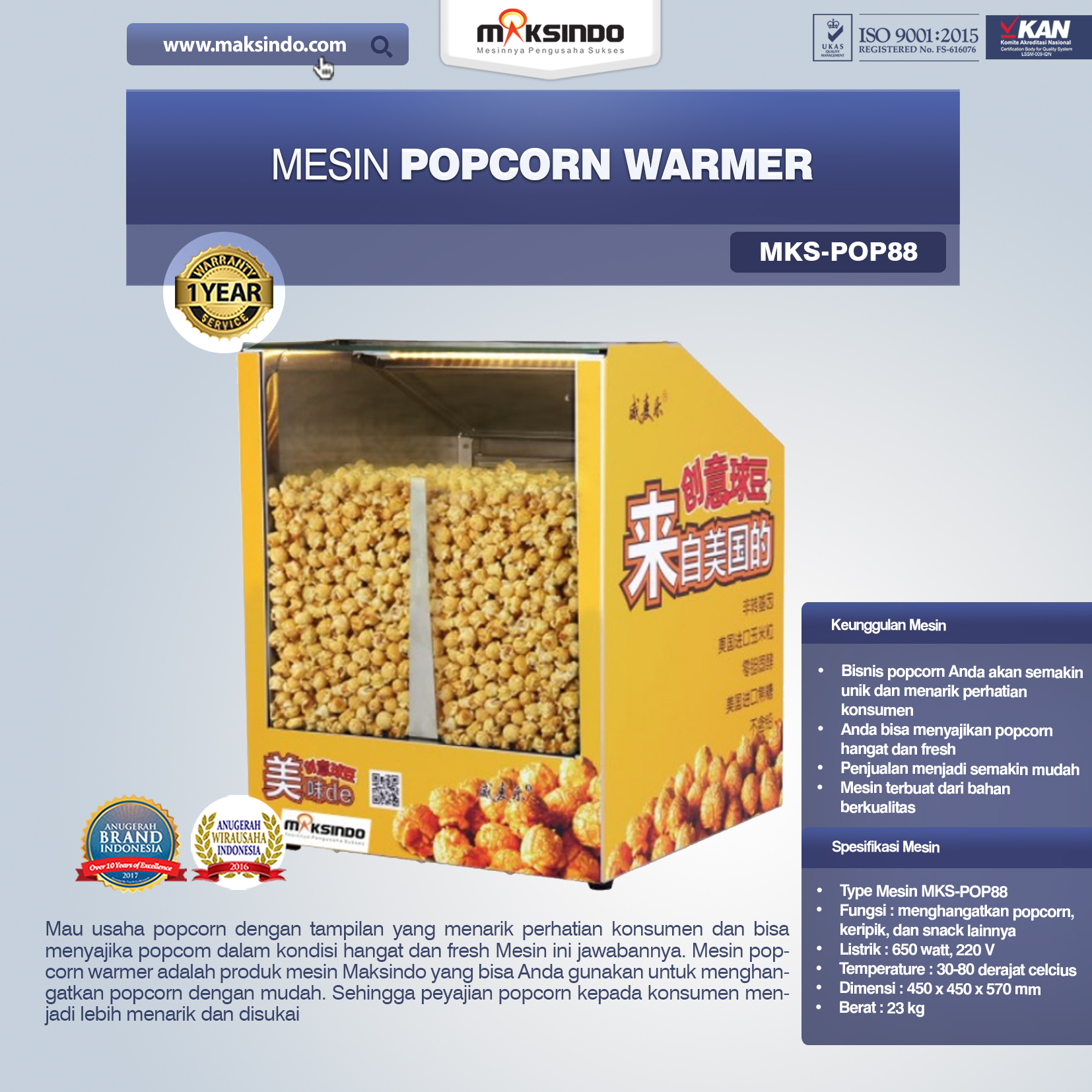 Mesin Popcorn Warmer (POP88)