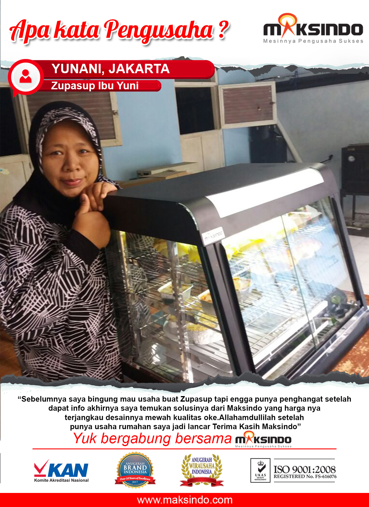 Zupasup Ibu Yuni: Usaha Rumahan Saya Menjadi Lancar Setelah Menemukan Mesin Penghangat Maksindo