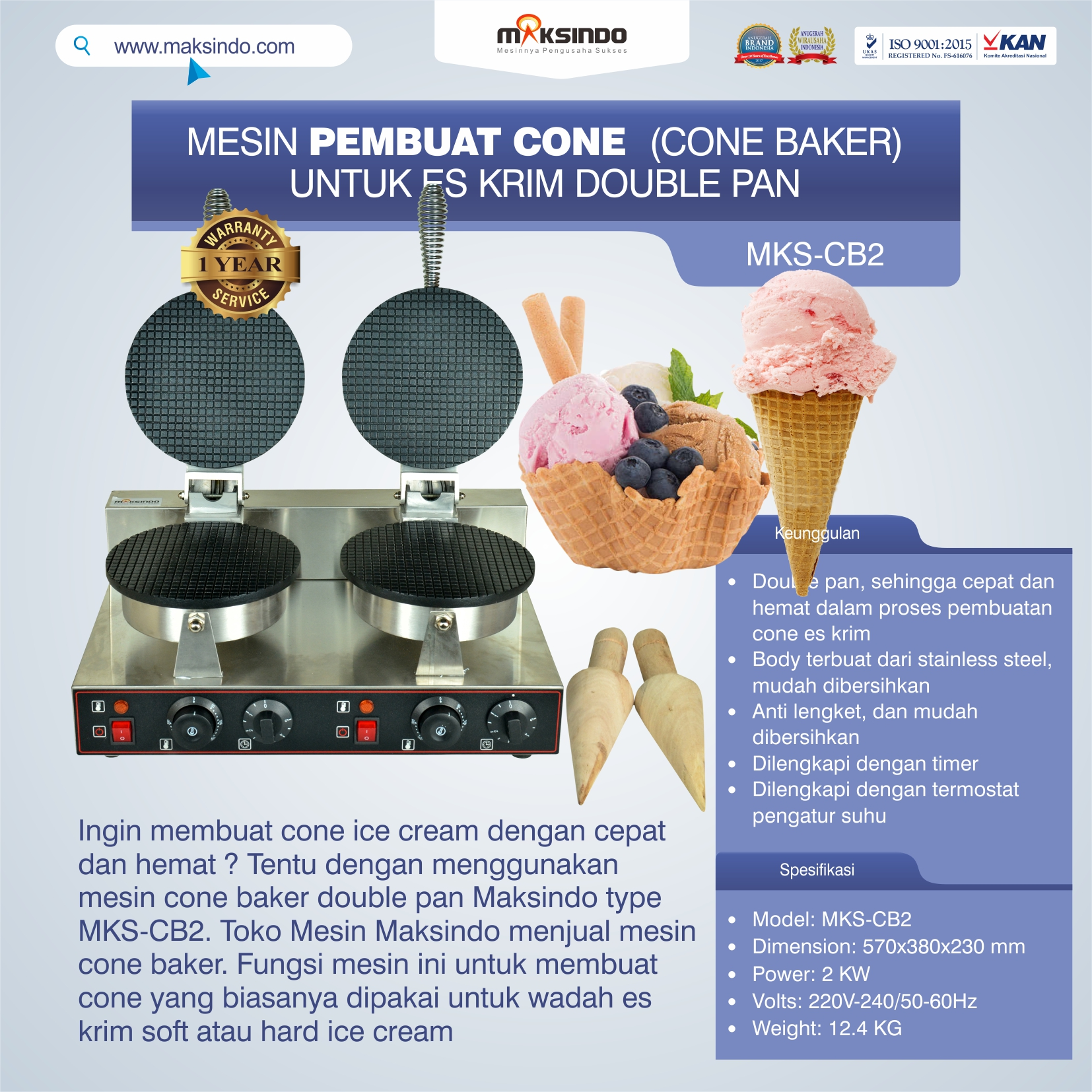 Pembuat Cone Ice Cream (CB2)