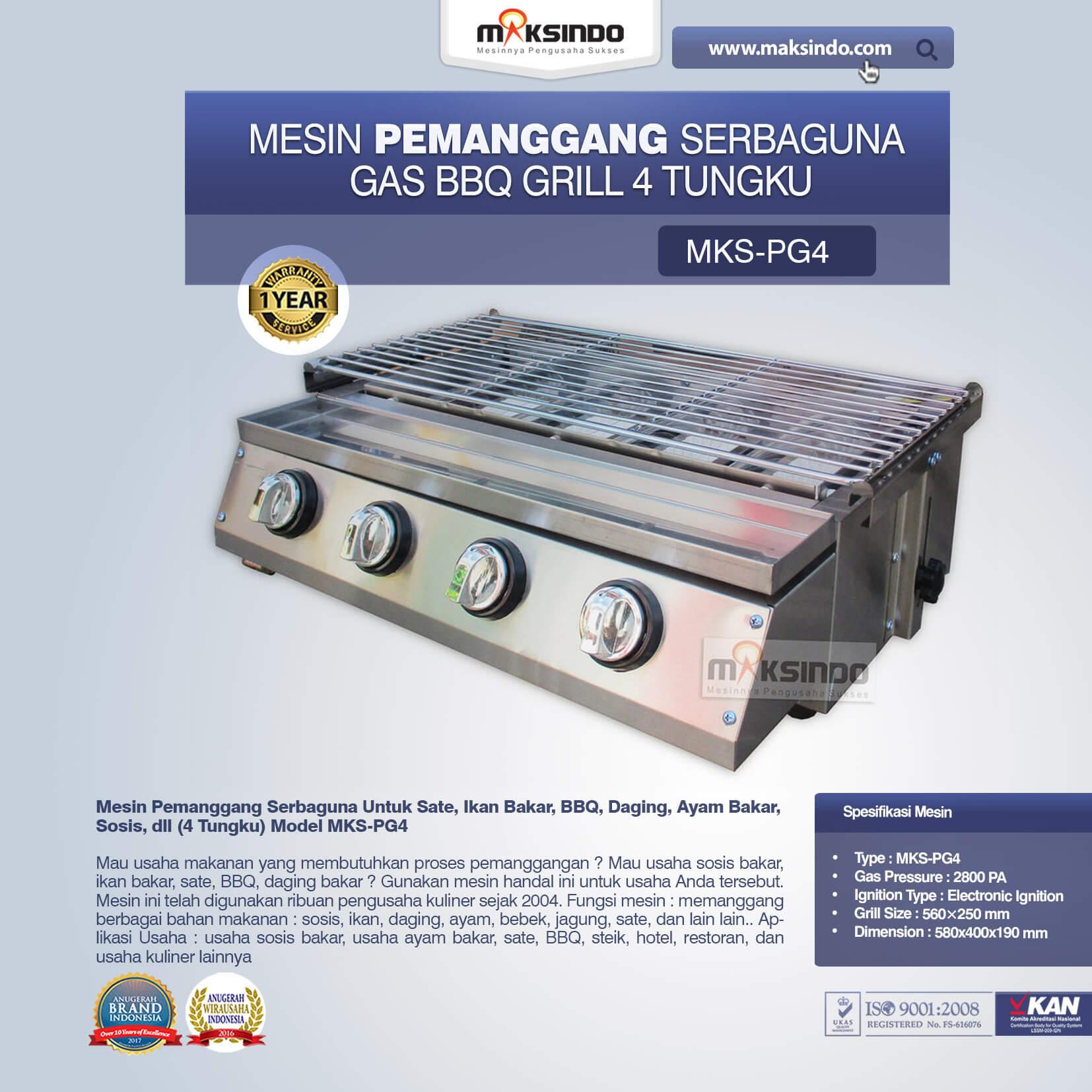 Pemanggang Serbaguna Full Stainless – Gas BBQ Grill 4 Tungku