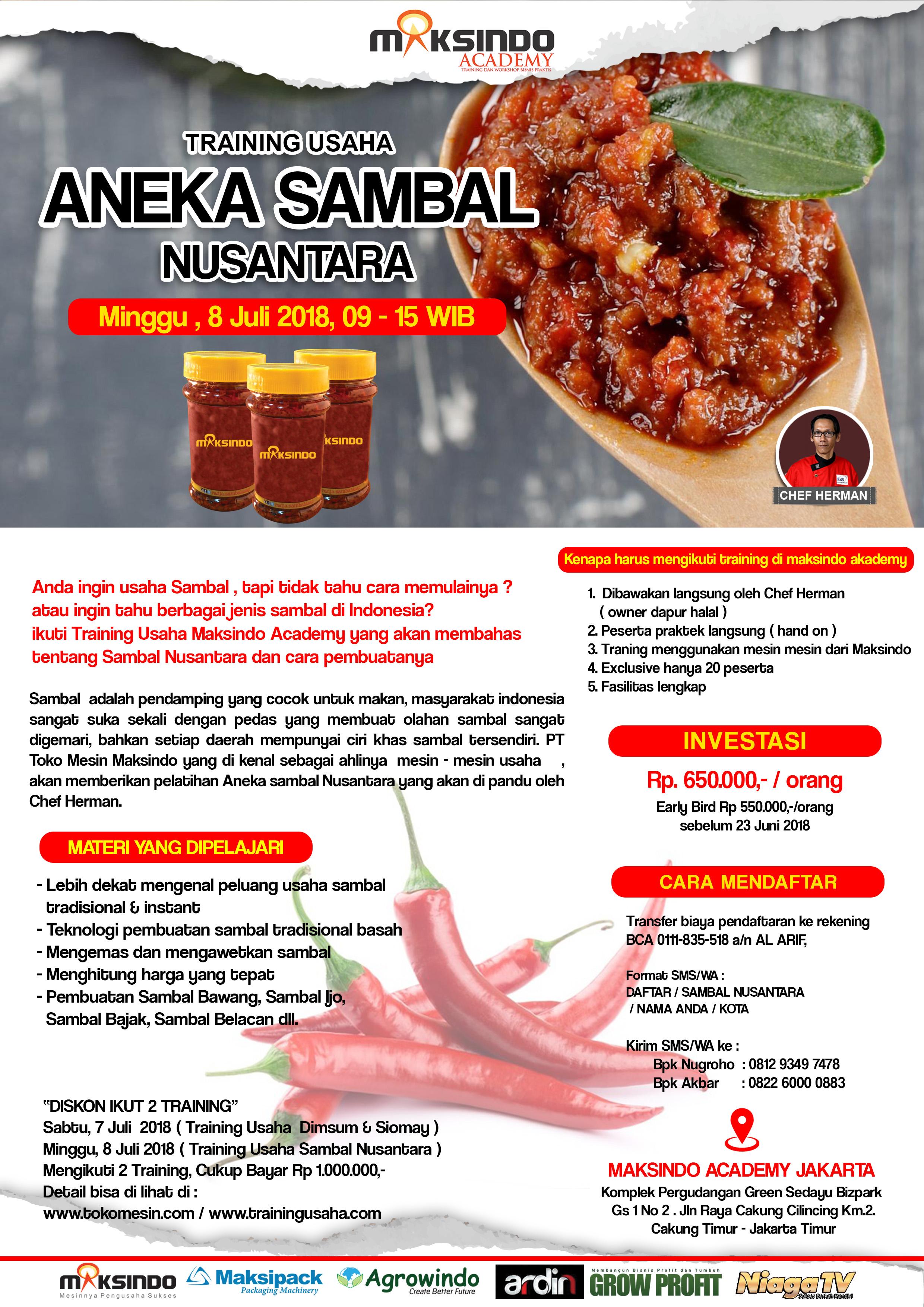 Training Usaha Aneka Sambal Nusantara, 8 Juli 2018