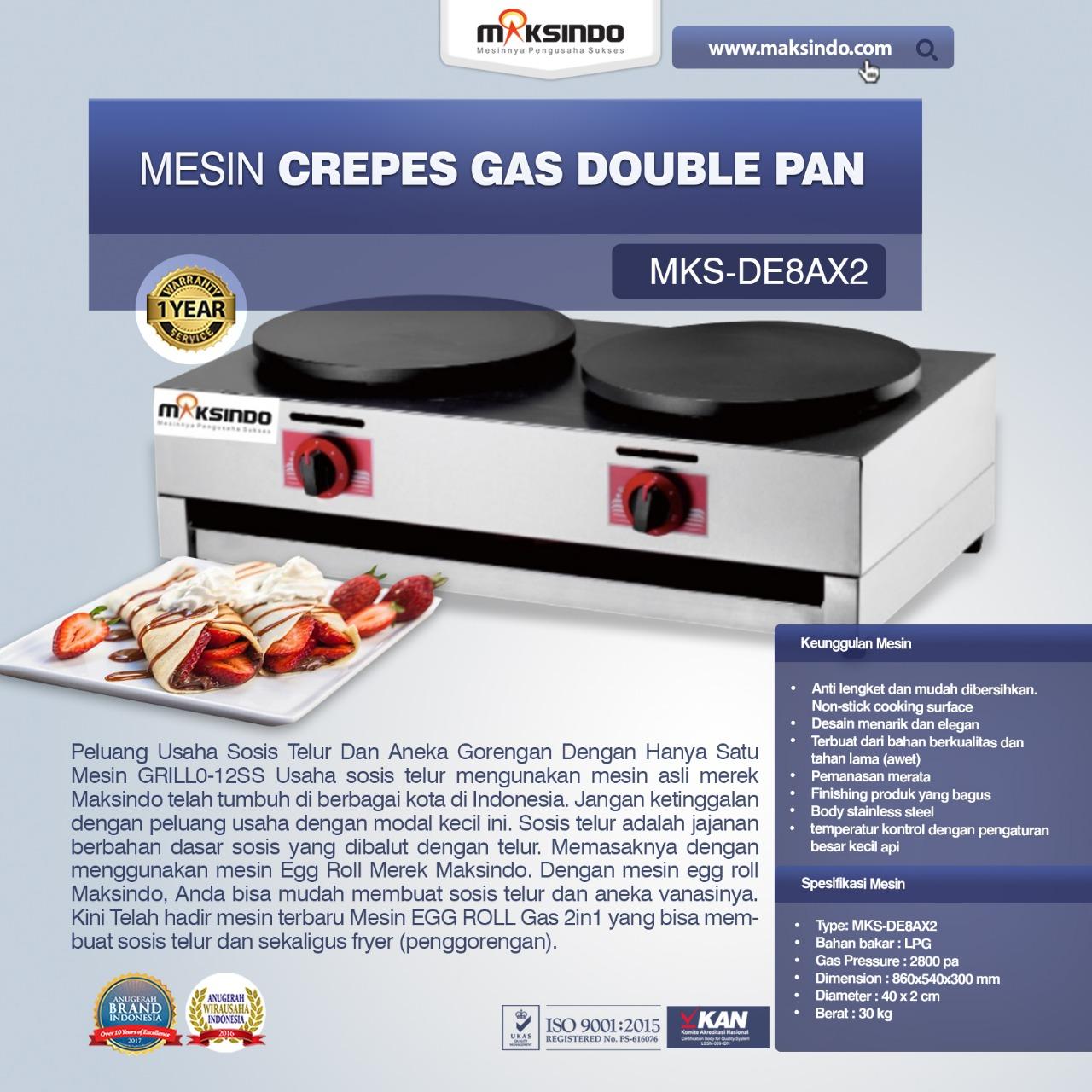 Mesin Crepes Gas Double Pan (DE8Ax2)