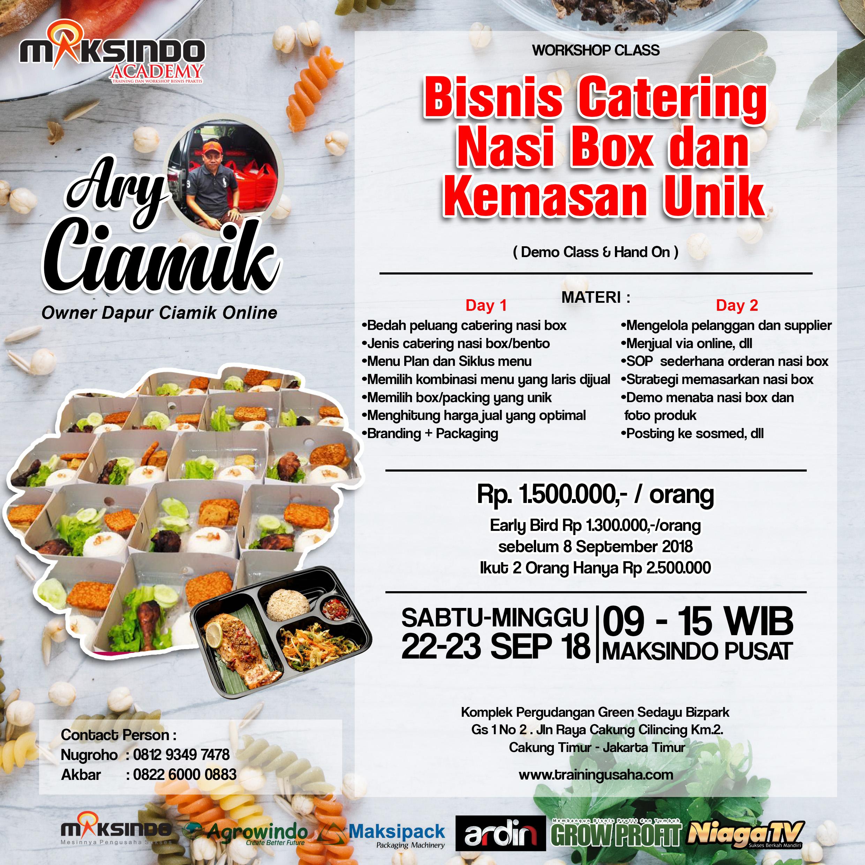 Workshop Class Bisnis Kuliner Catering Nasi Box & Kemasan Unik, 22-23 September 2018