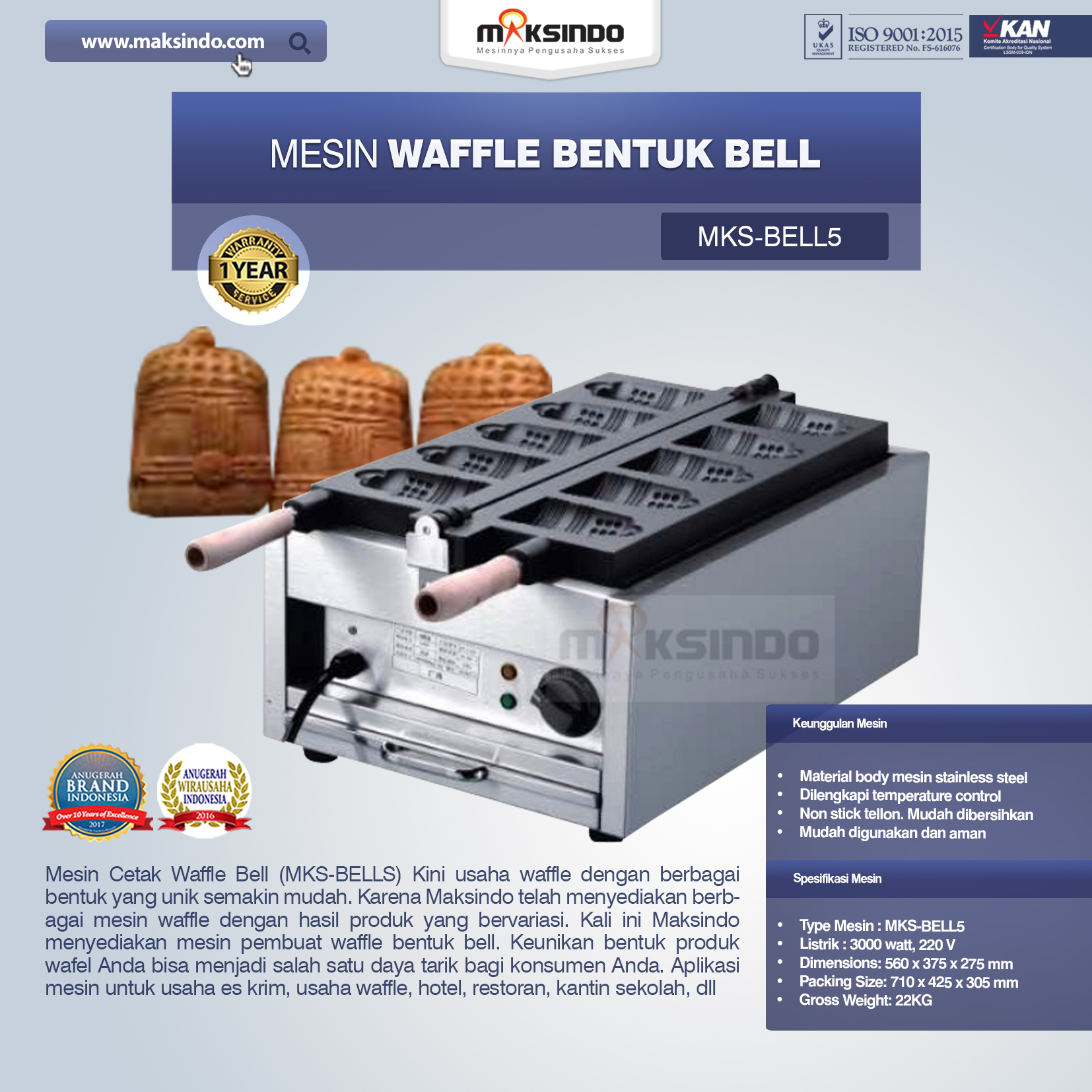 Mesin Waffle Bentuk Bell (MKS-BELL5)