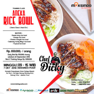 Training Usaha Aneka Rice Bowl, Minggu 7 Oktober 2018
