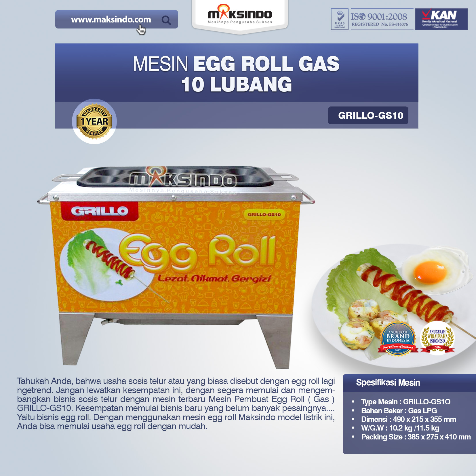 Egg Roll Gas 10 Lubang GRILLO-GS10