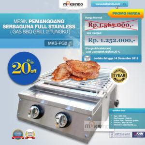 Pemanggang Serbaguna Full Stainless – Gas BBQ Grill 2 Tungku