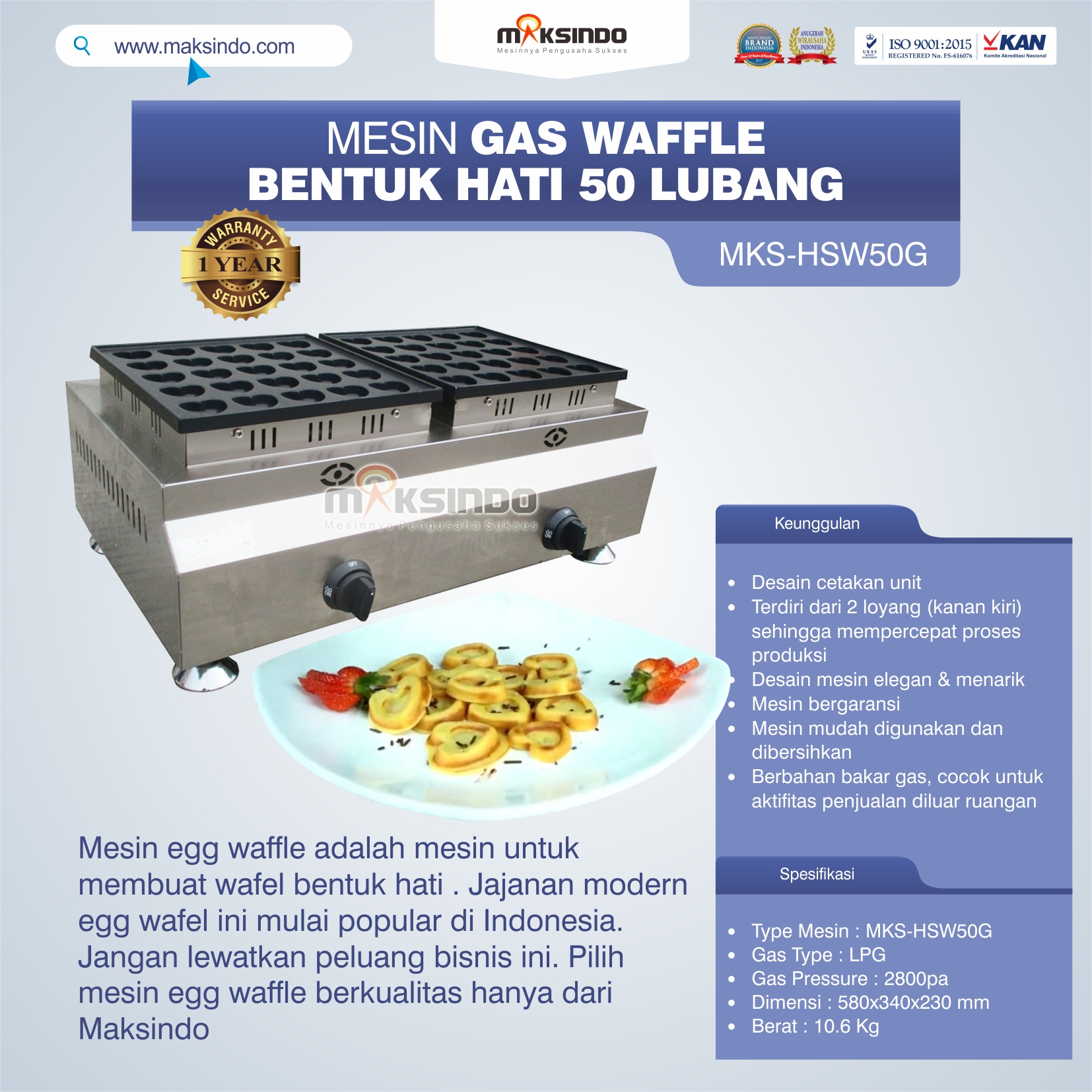 Mesin Waffle Gas Bentuk Hati 50 Lubang MKS-HSW50G