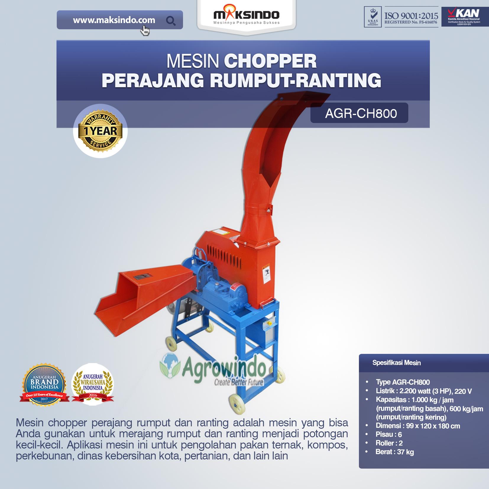 Mesin Chopper Perajang Rumput-Ranting (AGR-CH800)