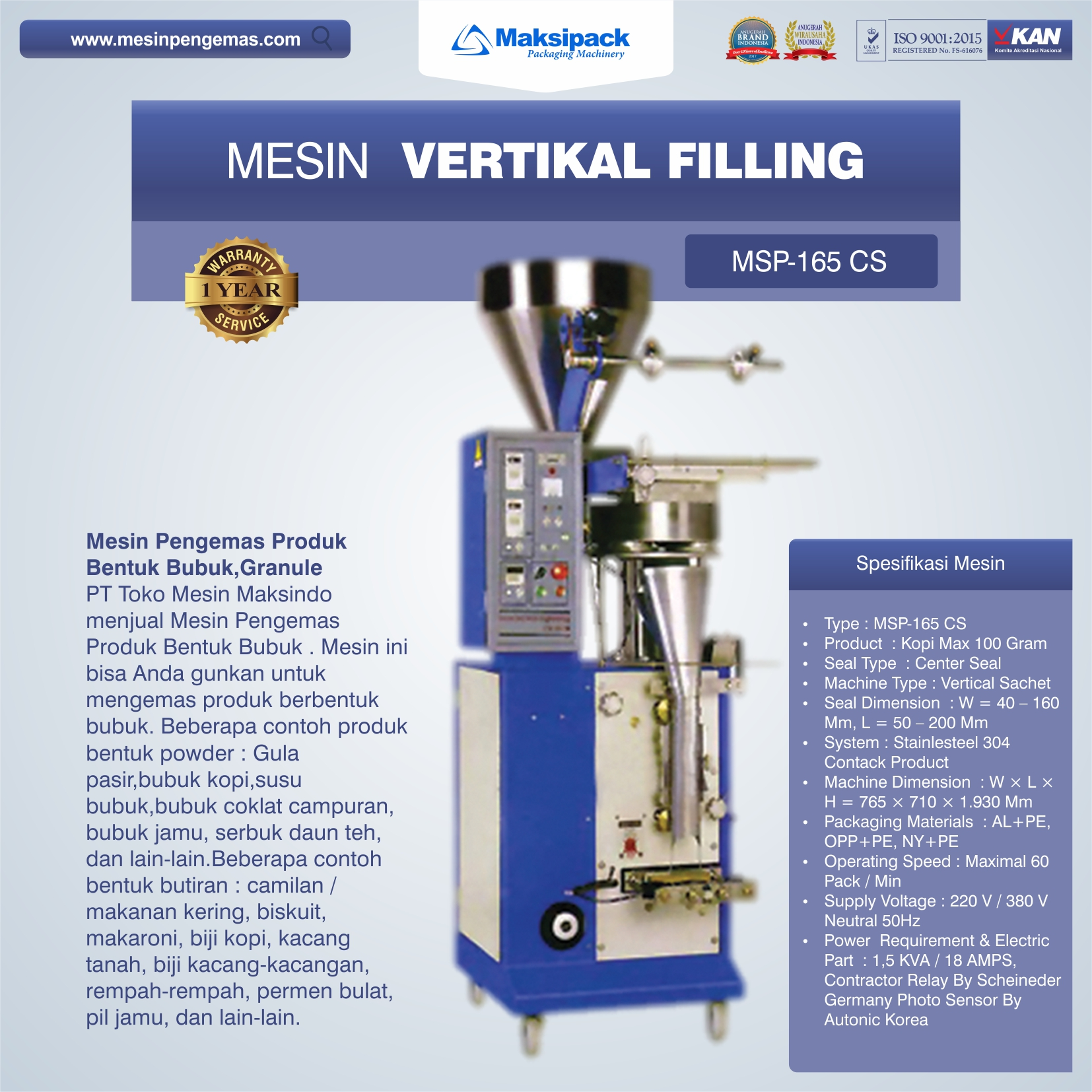 Mesin Vertikal Filling (MSP-165 CS)