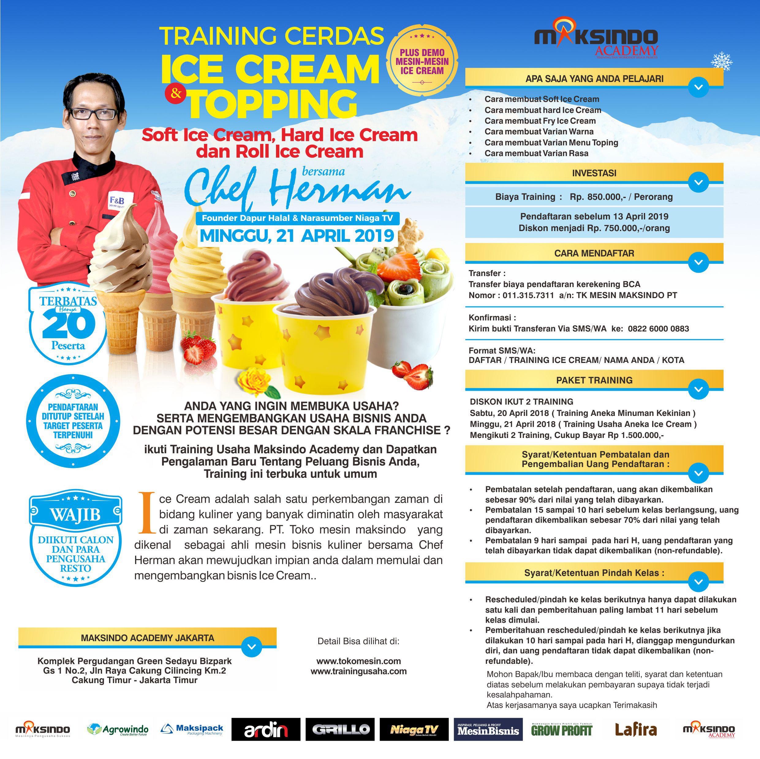 Training Usaha Ice Cream Dan Topping, Sabtu 21 April 2019