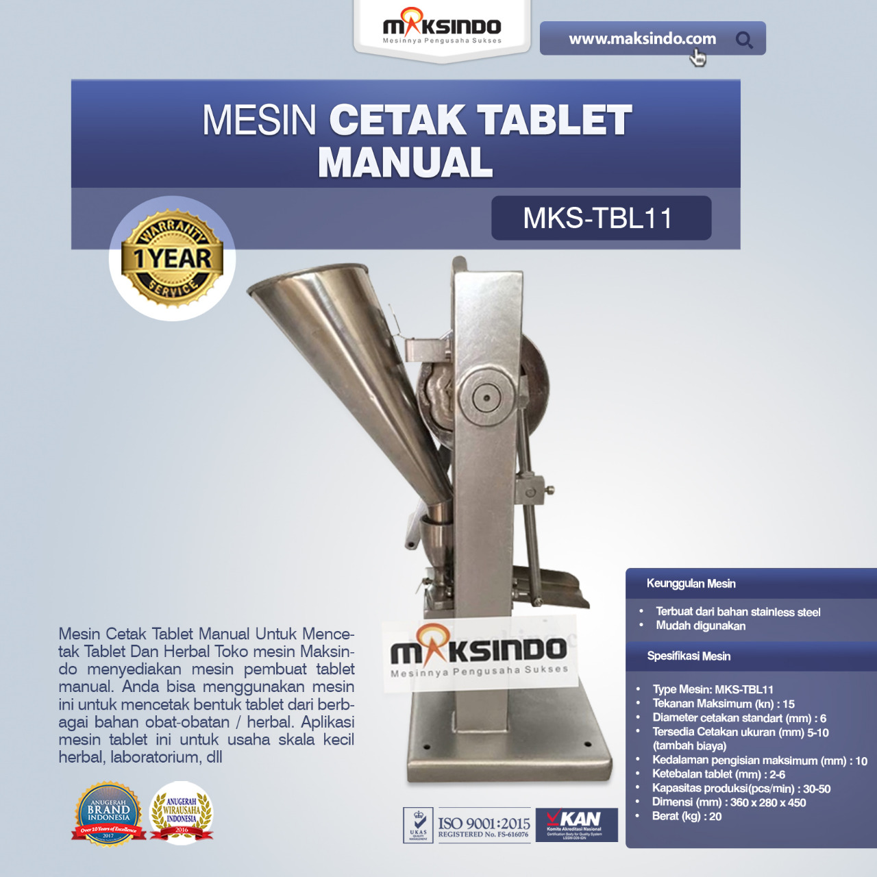 Mesin Cetak Tablet Manual – MKS-TBL11