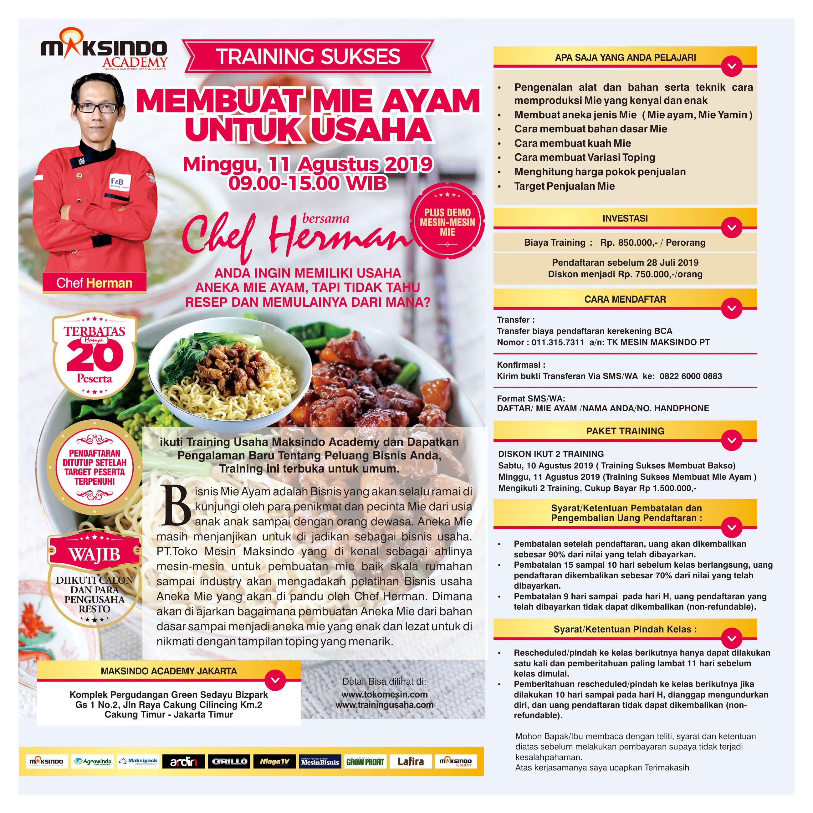 Training Sukses Membuat Mie Ayam, Minggu 11 Agustus 2019