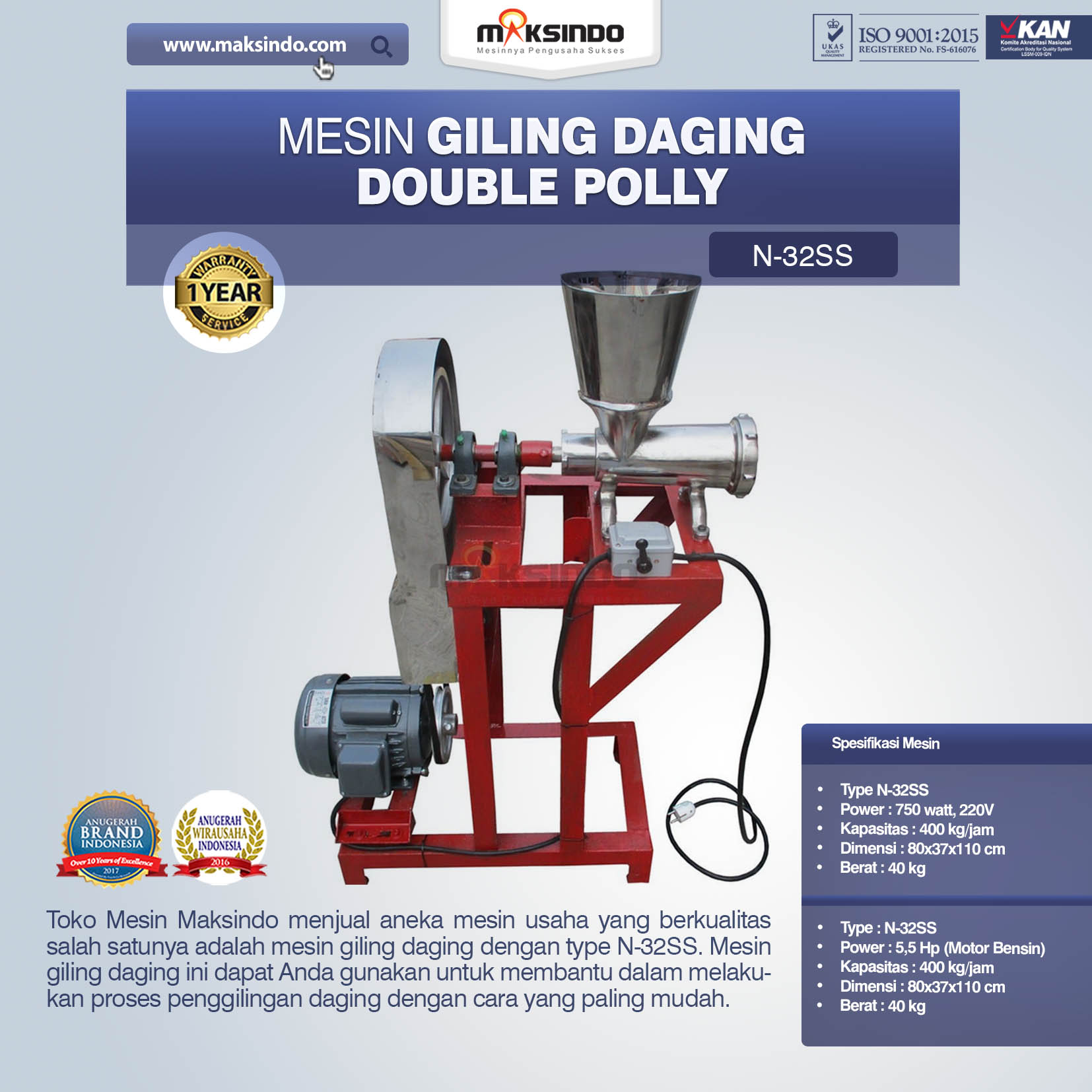 Mesin Giling Daging Double Polly N-32SS
