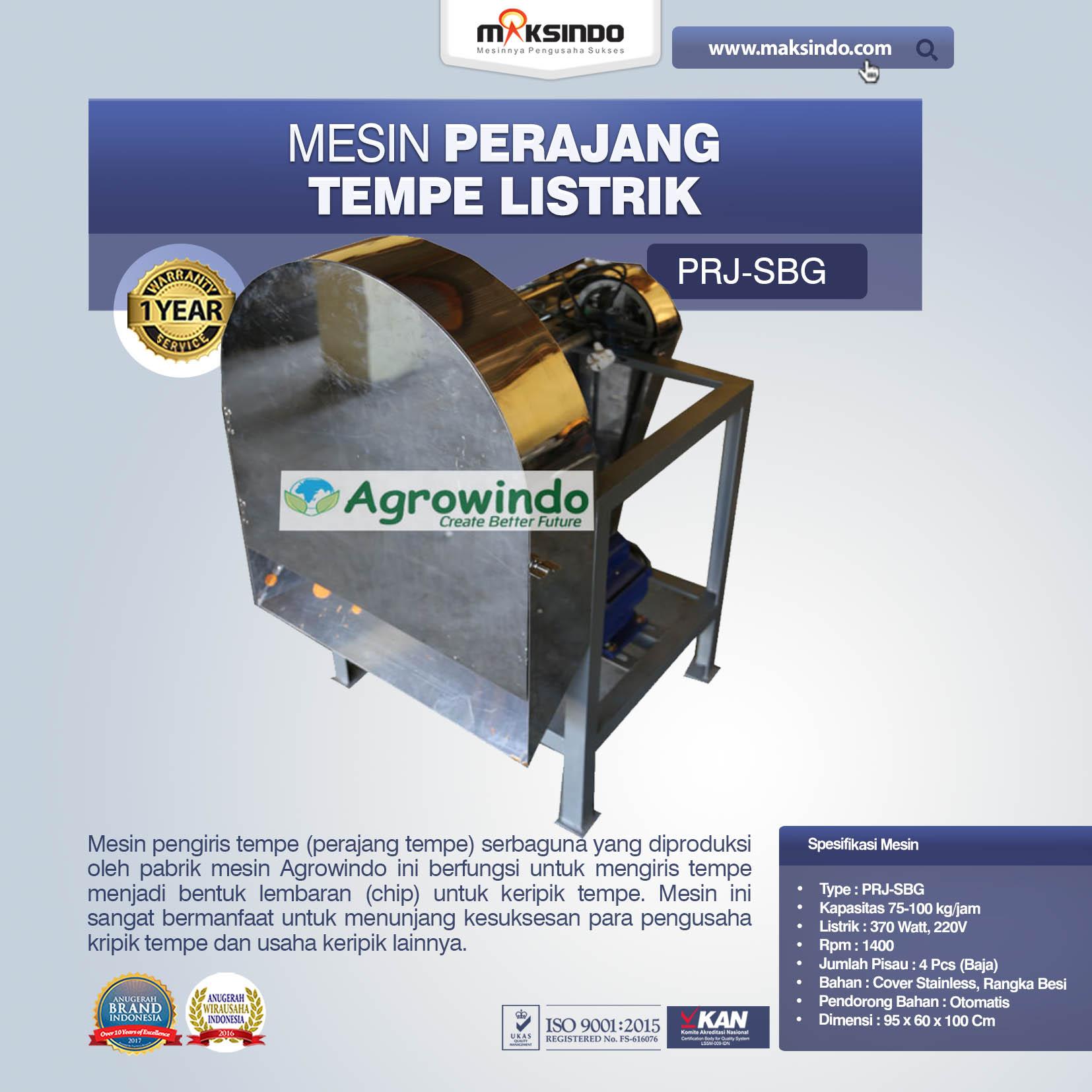 Mesin Perajang Tempe Listrik PRJ-SBG