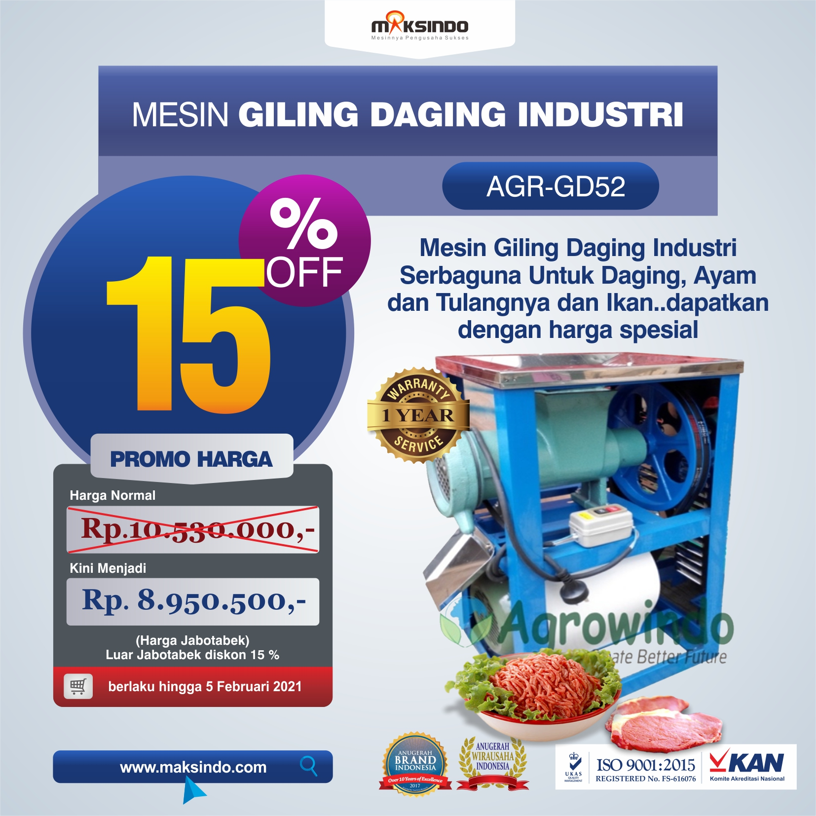 Mesin Giling Daging Industri (AGR-GD52)