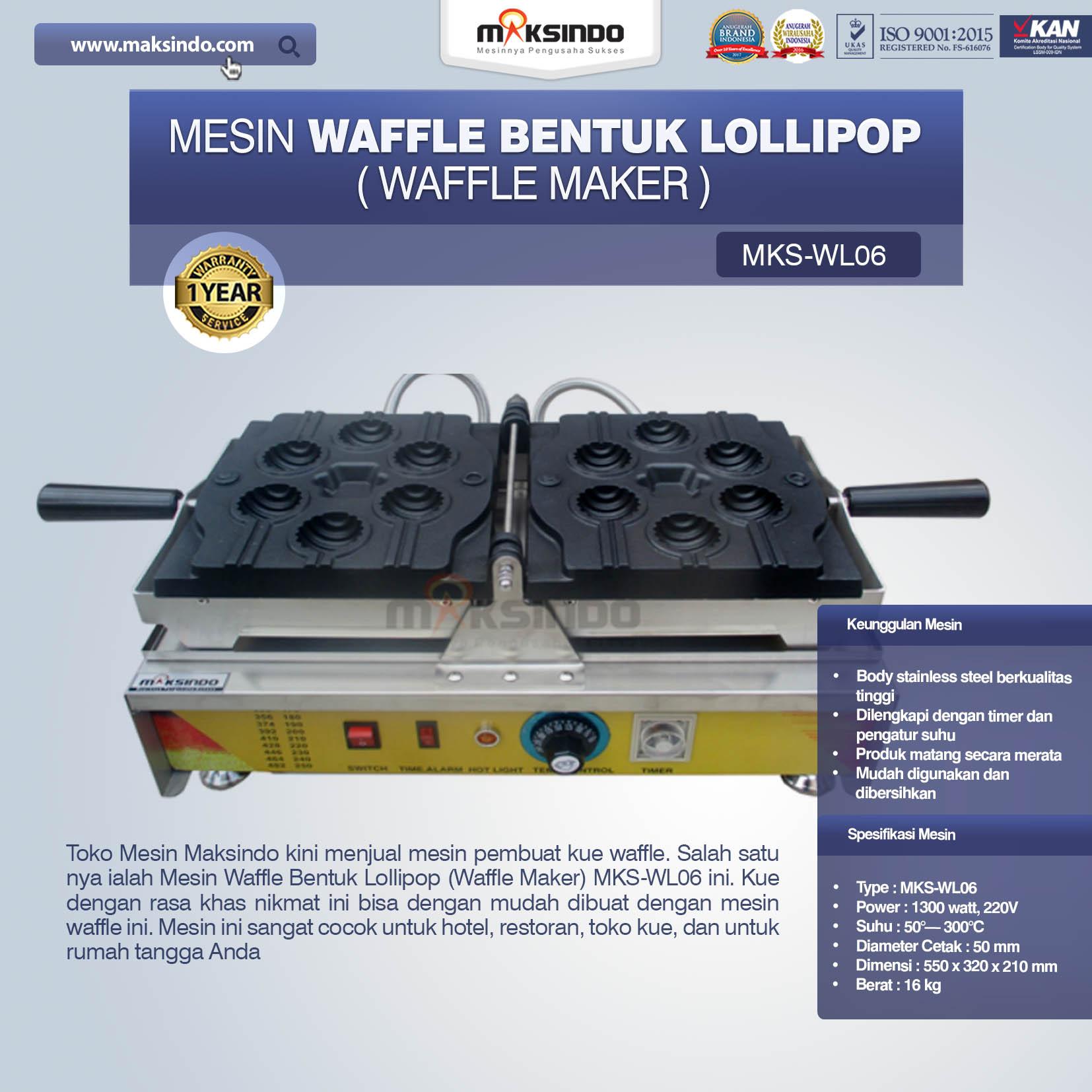 Mesin Waffle Bentuk Lollipop (Waffle Maker) MKS-WL06