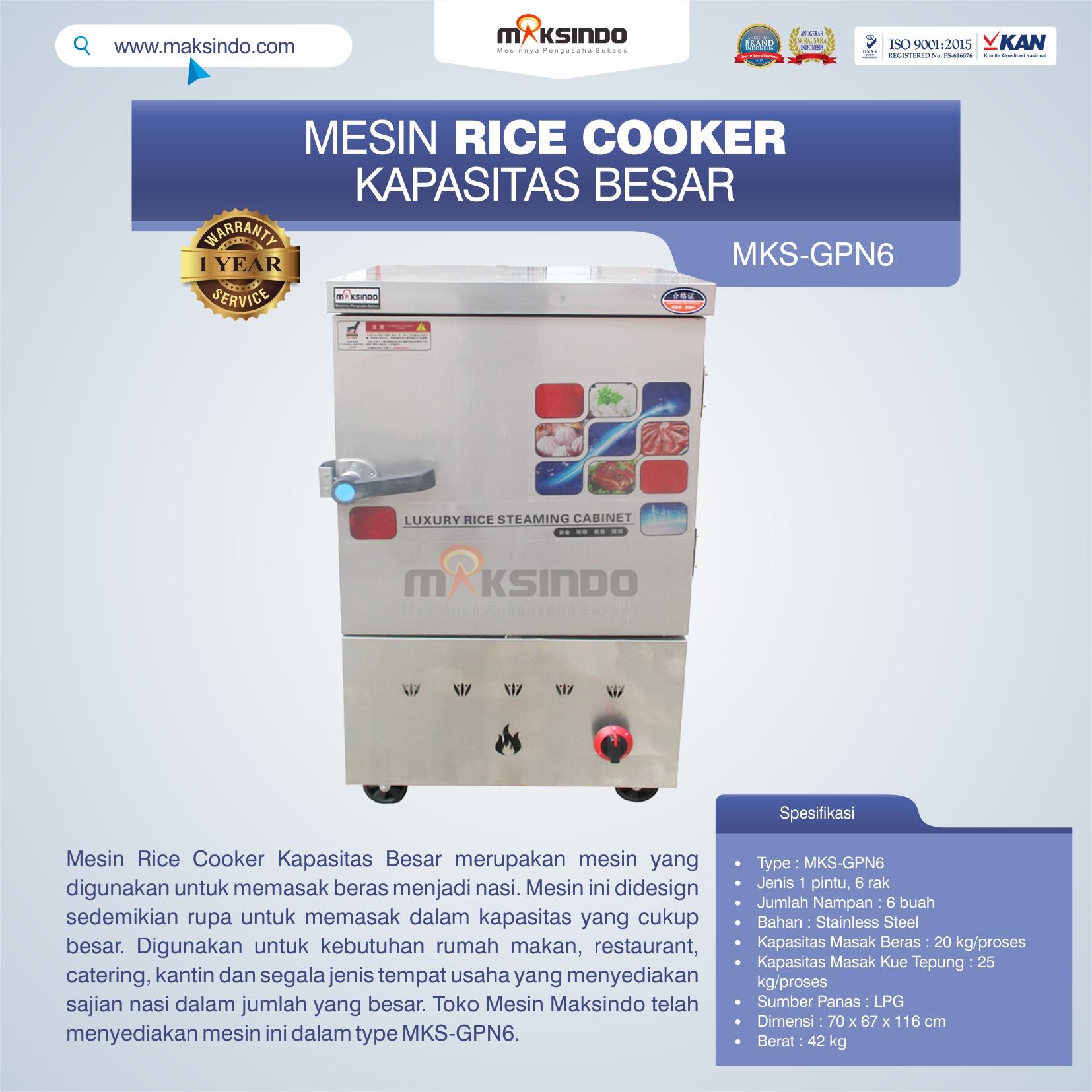 Mesin Rice Cooker Kapasitas Besar MKS-GPN6