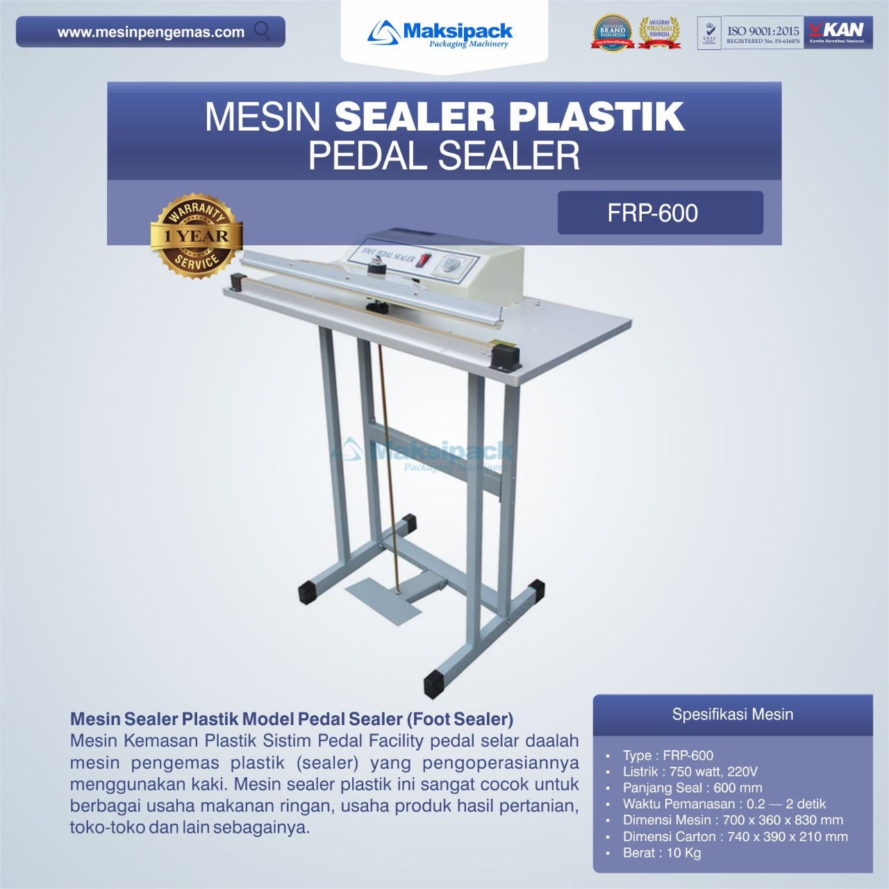 Mesin Sealer Plastik Pedal Sealer FRP-600