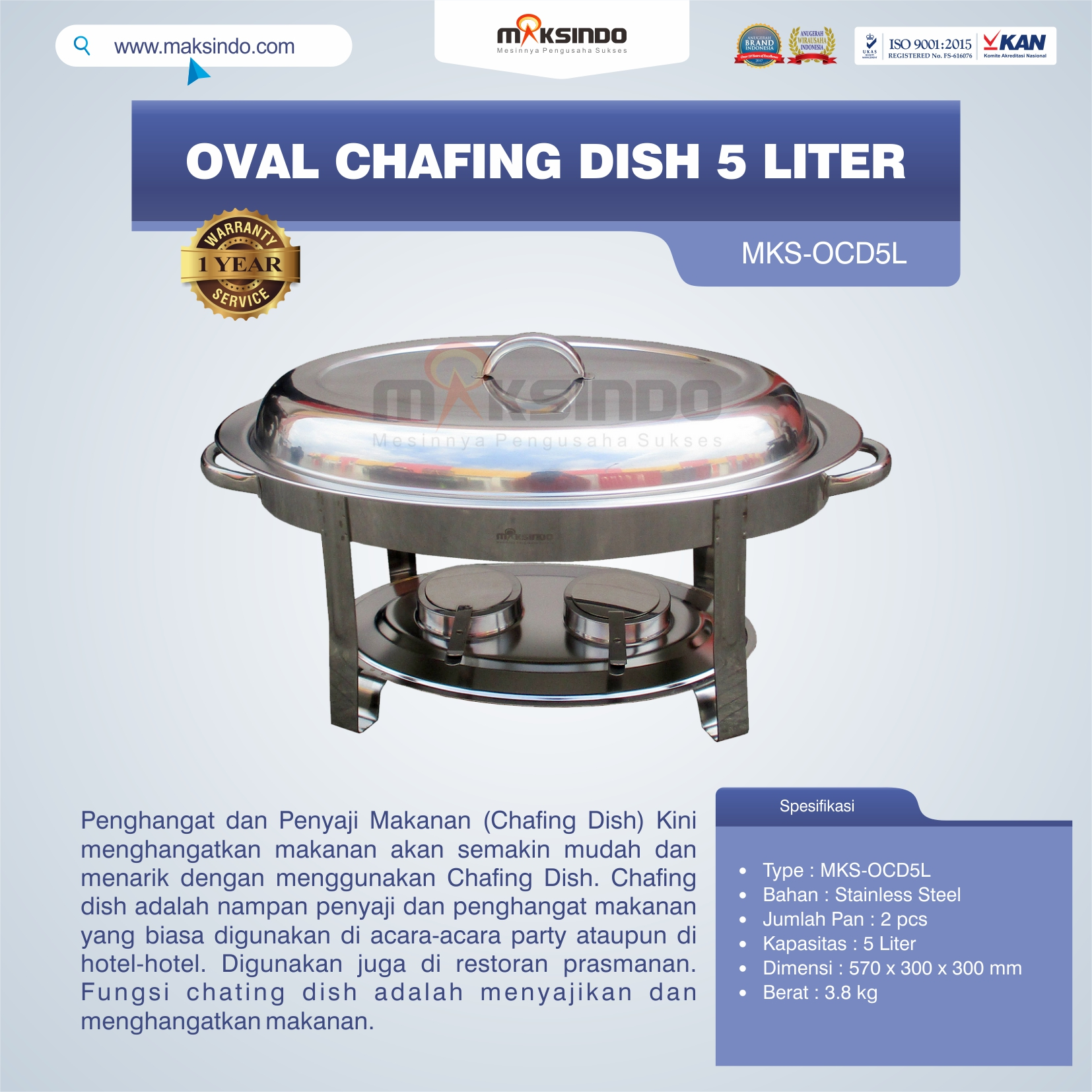 Oval Chafing Dish 5 Liter