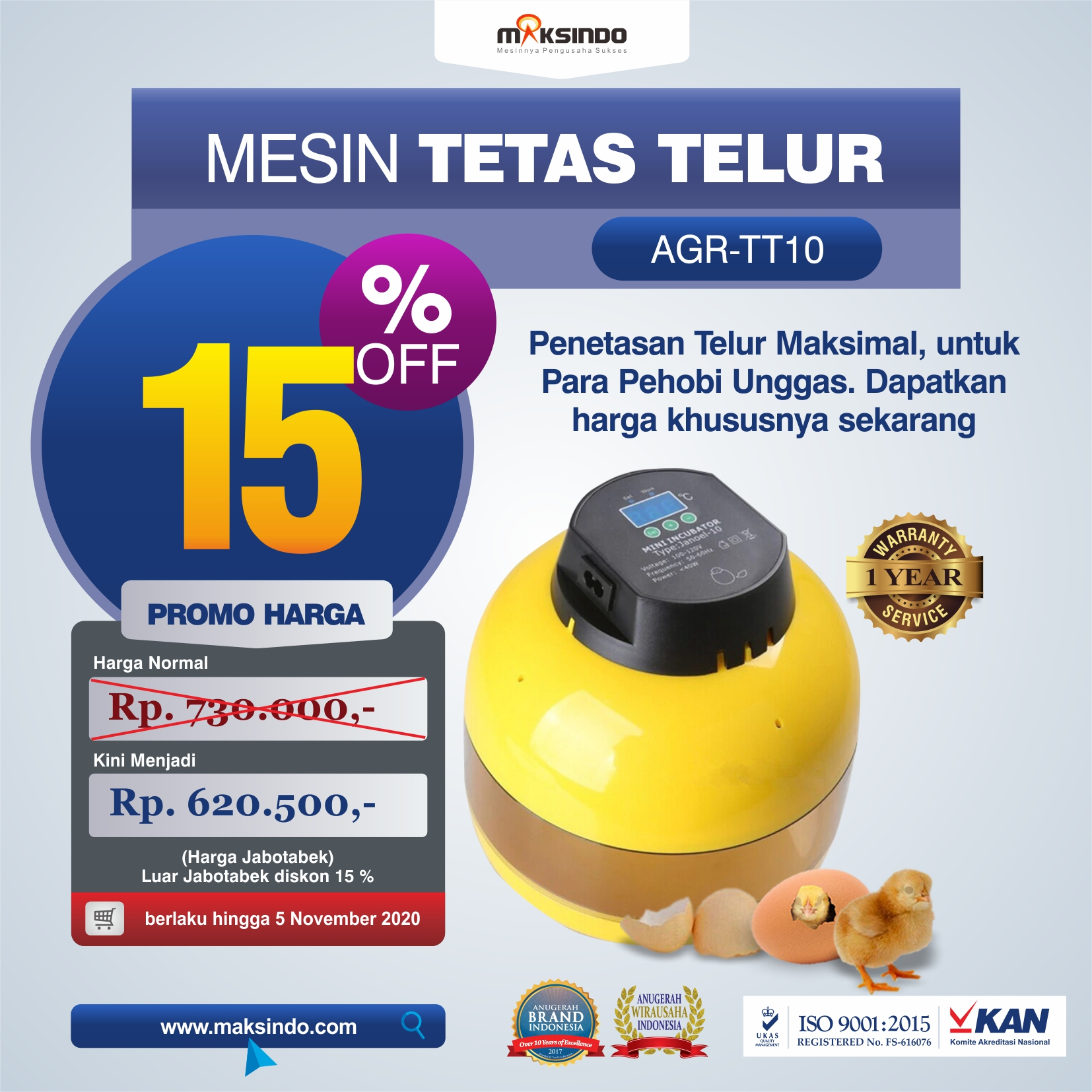 Mesin Tetas Telur 10 Butir (AGR-TT10)