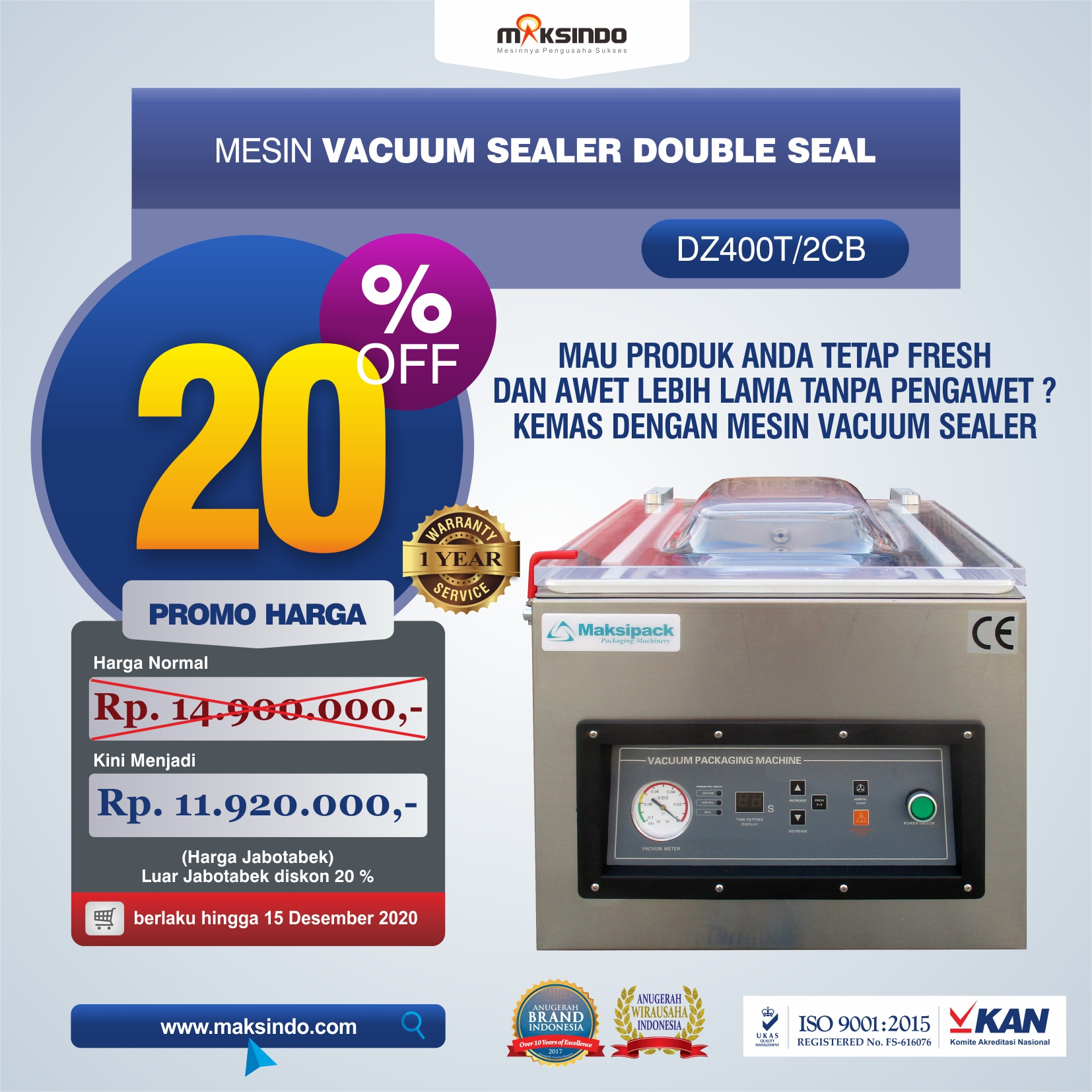 Vacuum Sealer Double Seal DZ400T/2CB