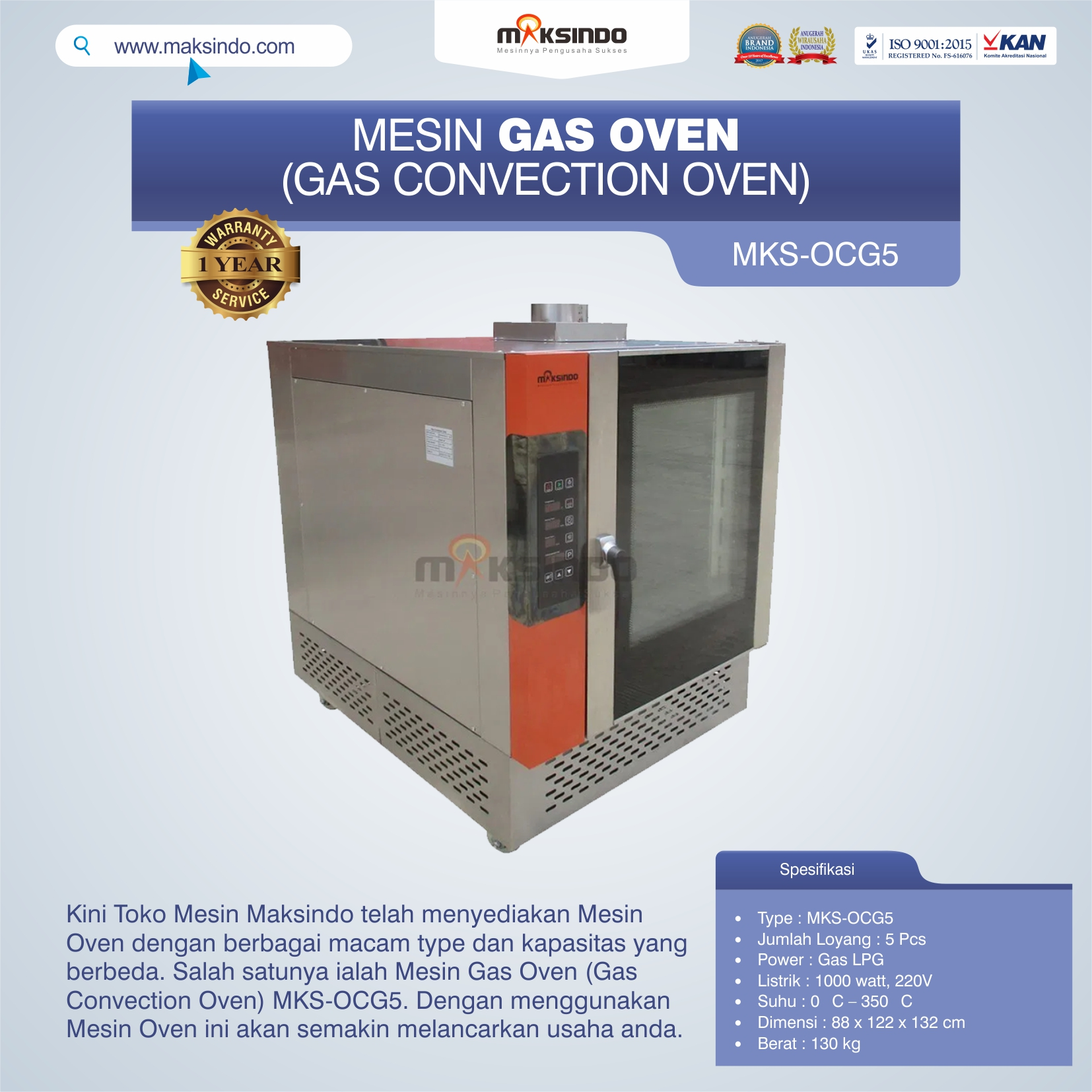 Mesin Gas Oven (Gas Convection Oven) MKS-OCG5