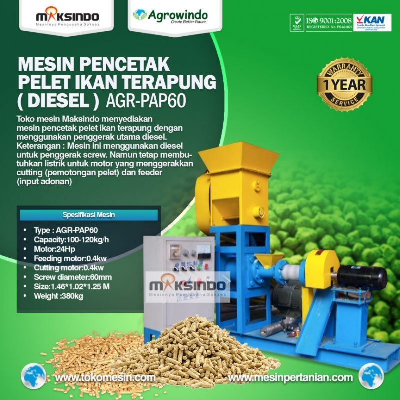 Mesin Pelet Ikan Terapung (diesel) AGR-PAP60