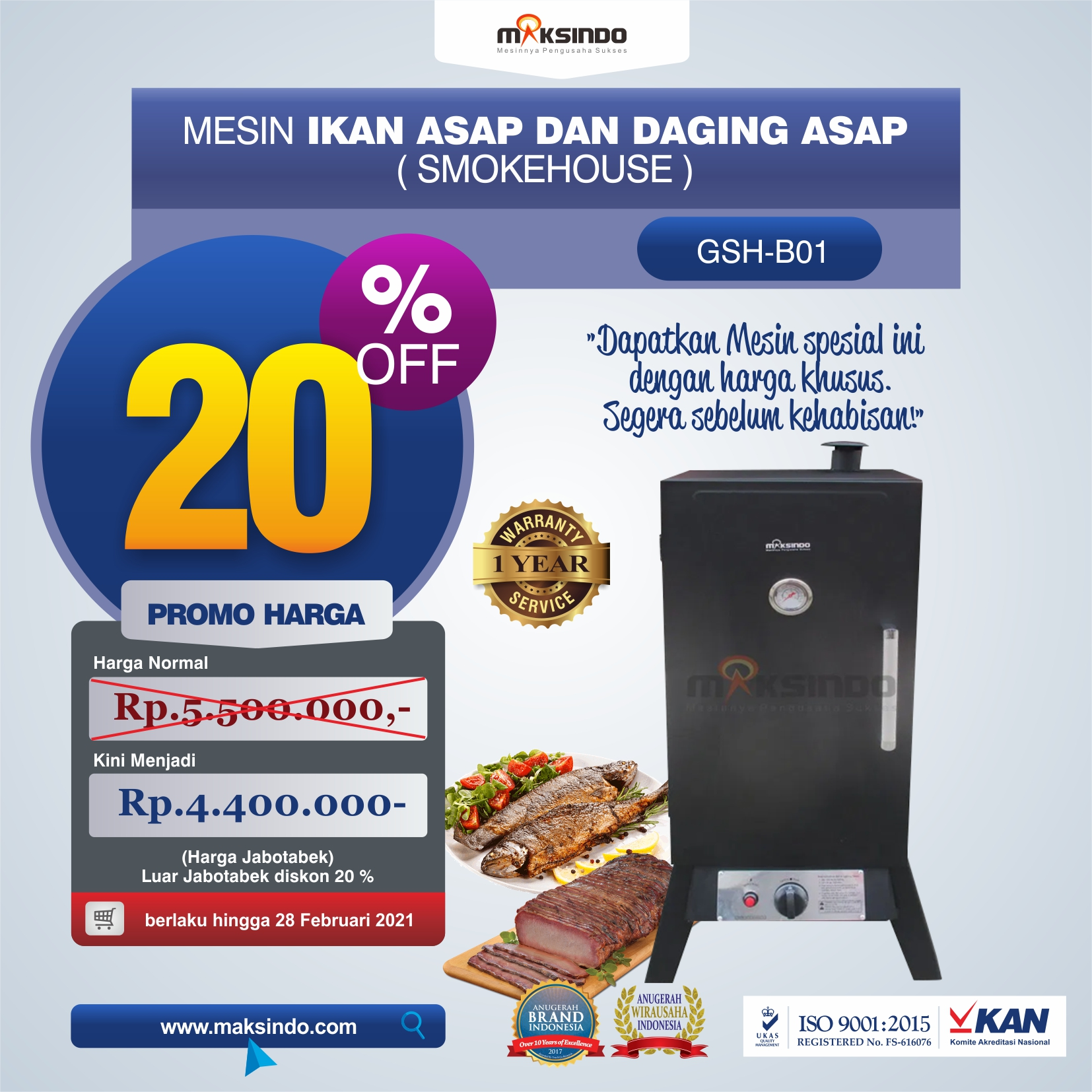 Mesin Ikan Asap dan Daging Asap (Smokehouse)- GSH-B01