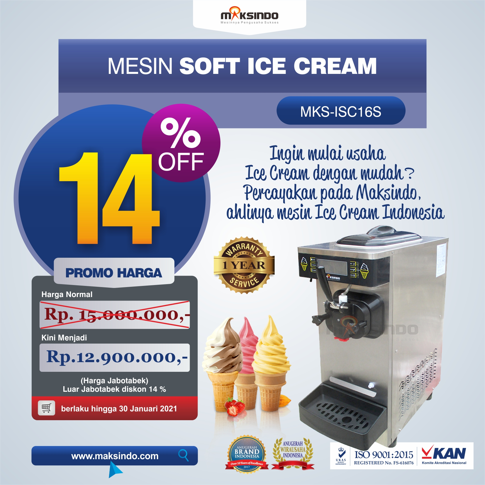 Mesin Soft Ice Cream ISC-16S