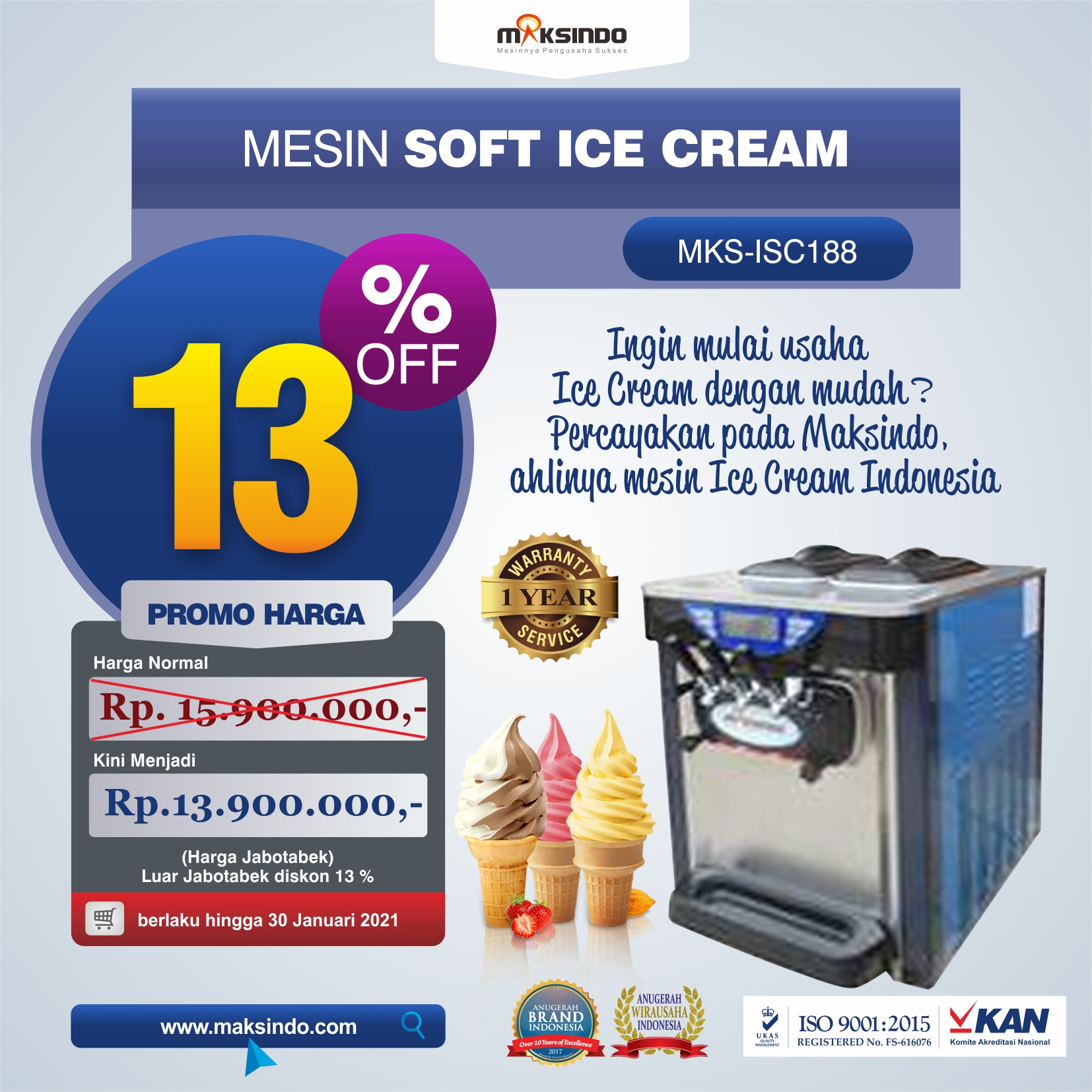 Mesin Soft Ice Cream ISC-188