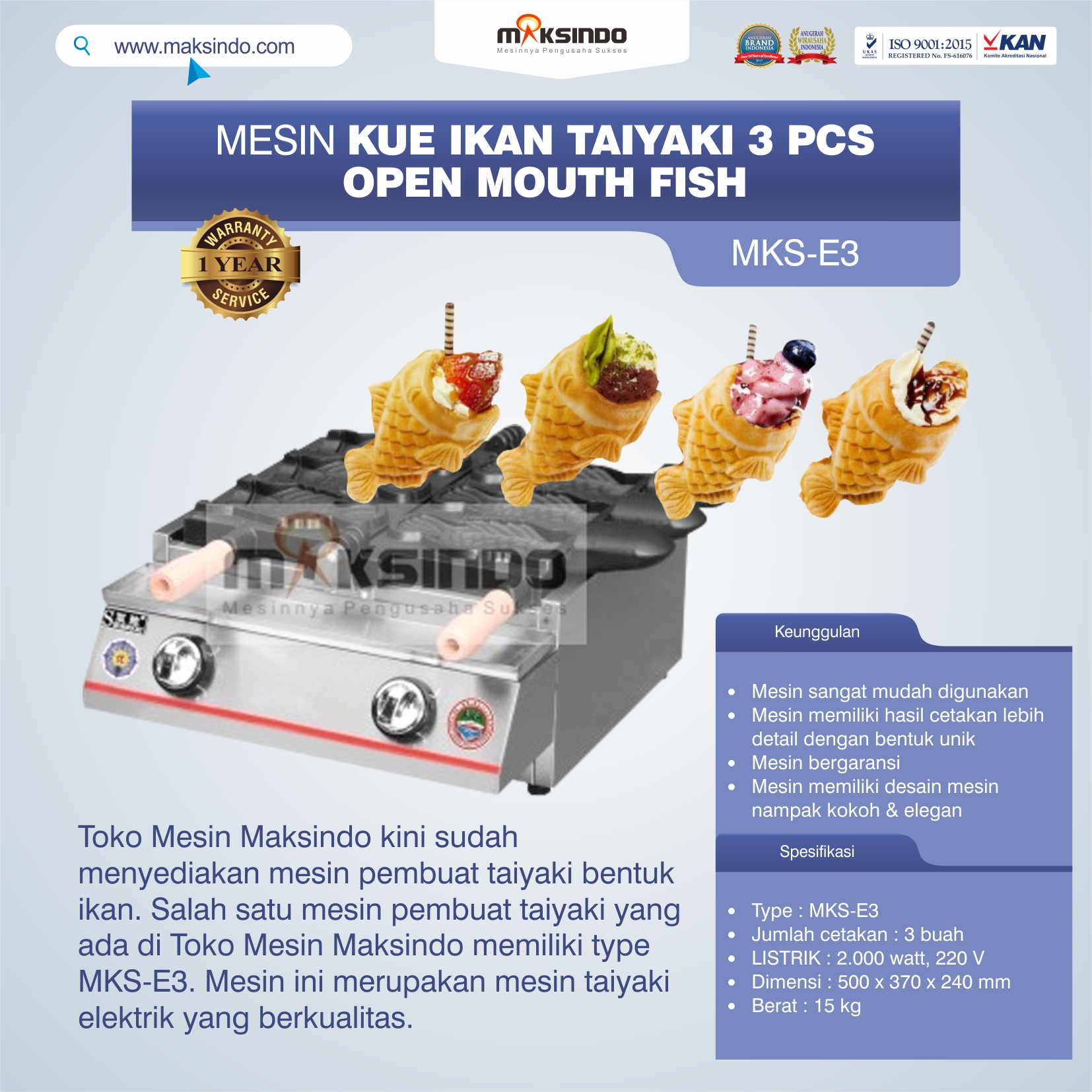 Mesin Kue Ikan Taiyaki (3 pcs) – Open Mouth Fish