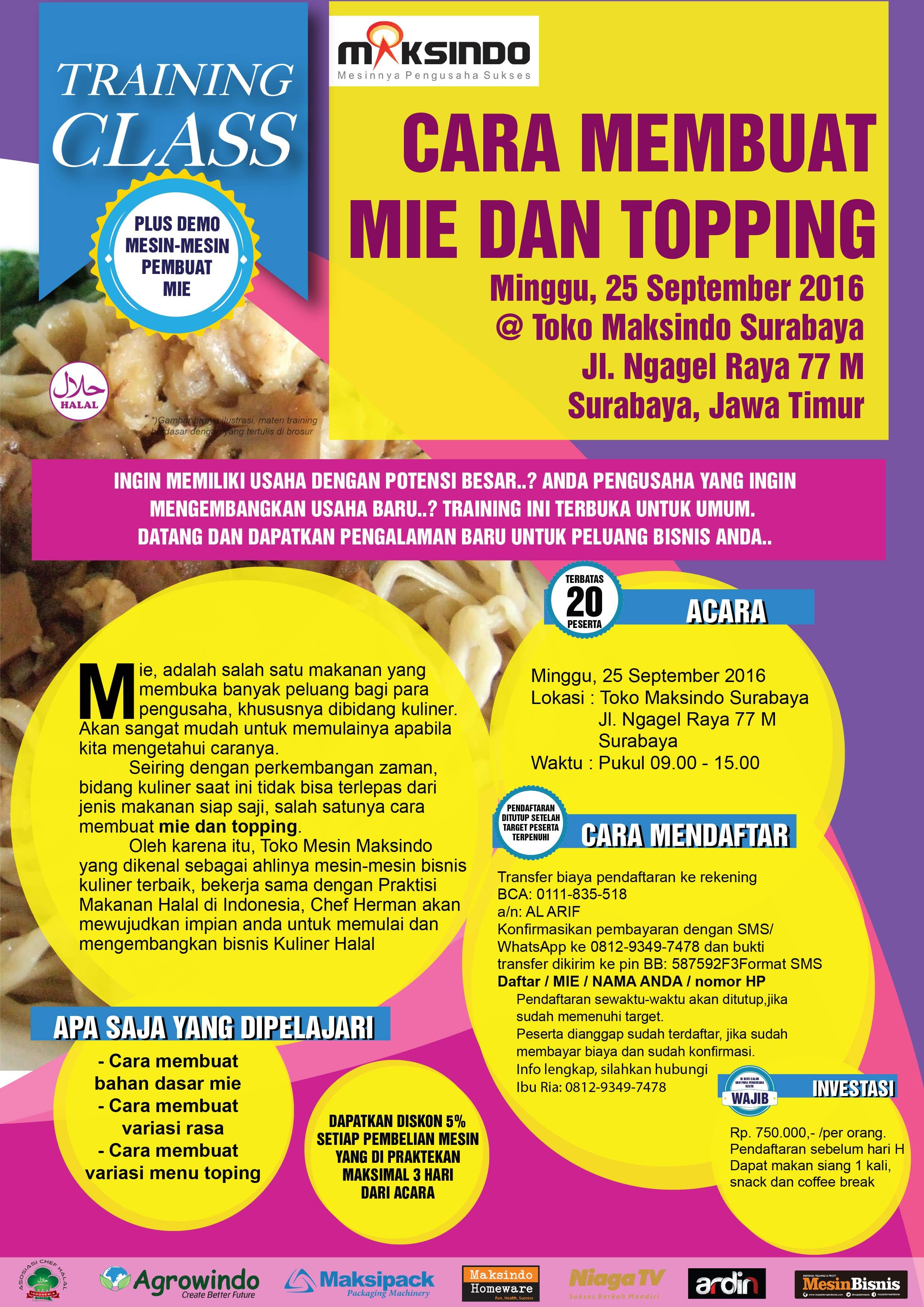 Training Usaha Mie dan Toping di Surabaya, 25 September 2016