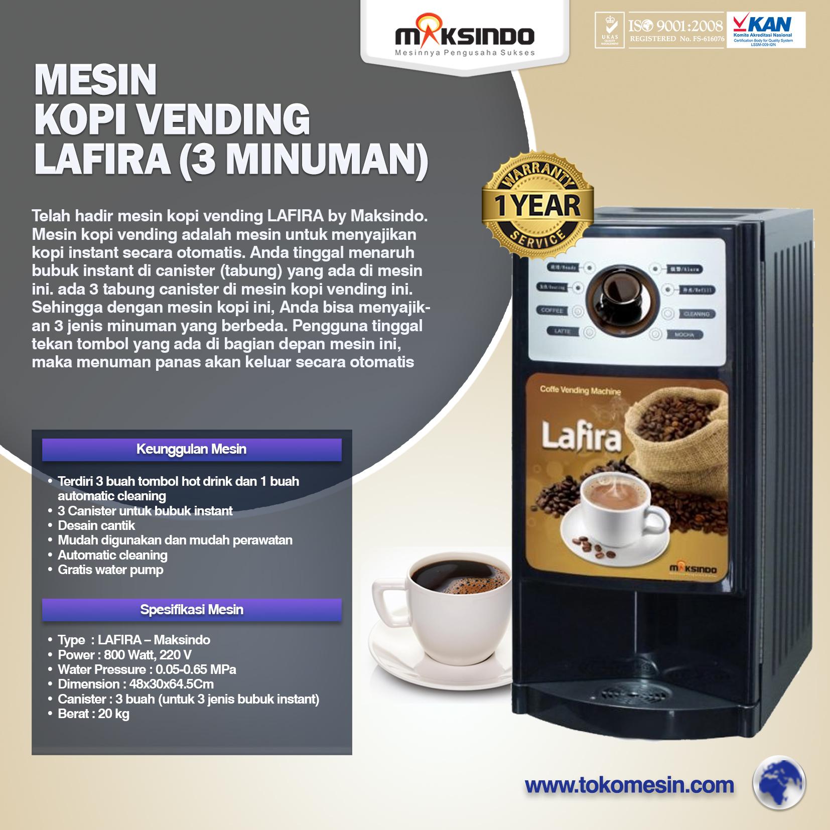 Mesin Kopi Vending LAFIRA (3 Minuman)