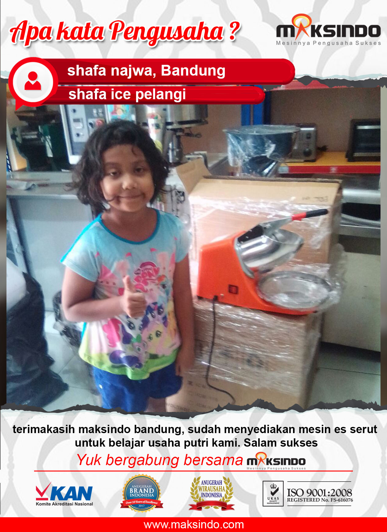 Shafa Ice Pelangi : Penyerutan Es Batu Makin Lancar Dengn Mesin Ice Crusher