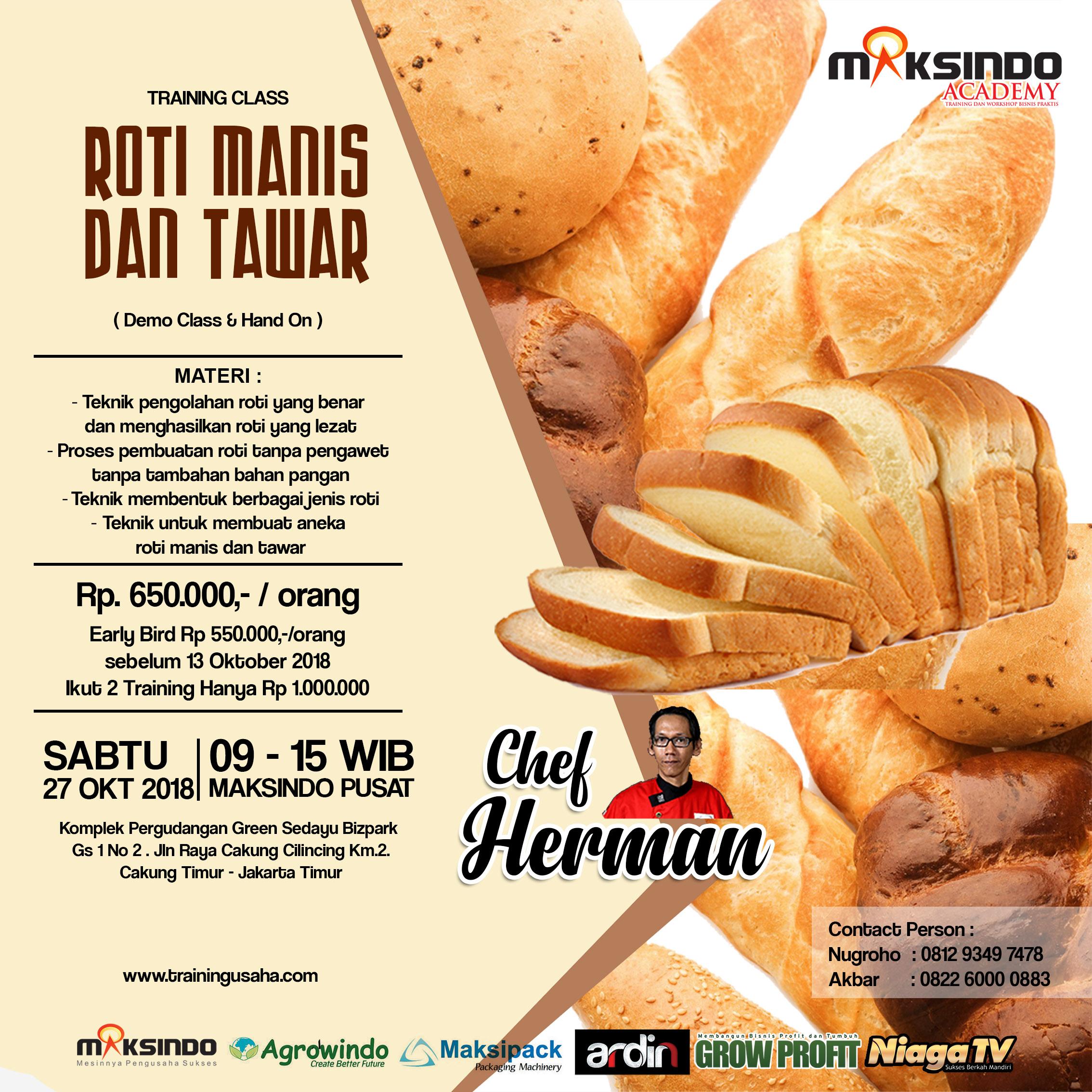 Training Usaha Roti Manis Dan Tawar, 27 Oktober 2018