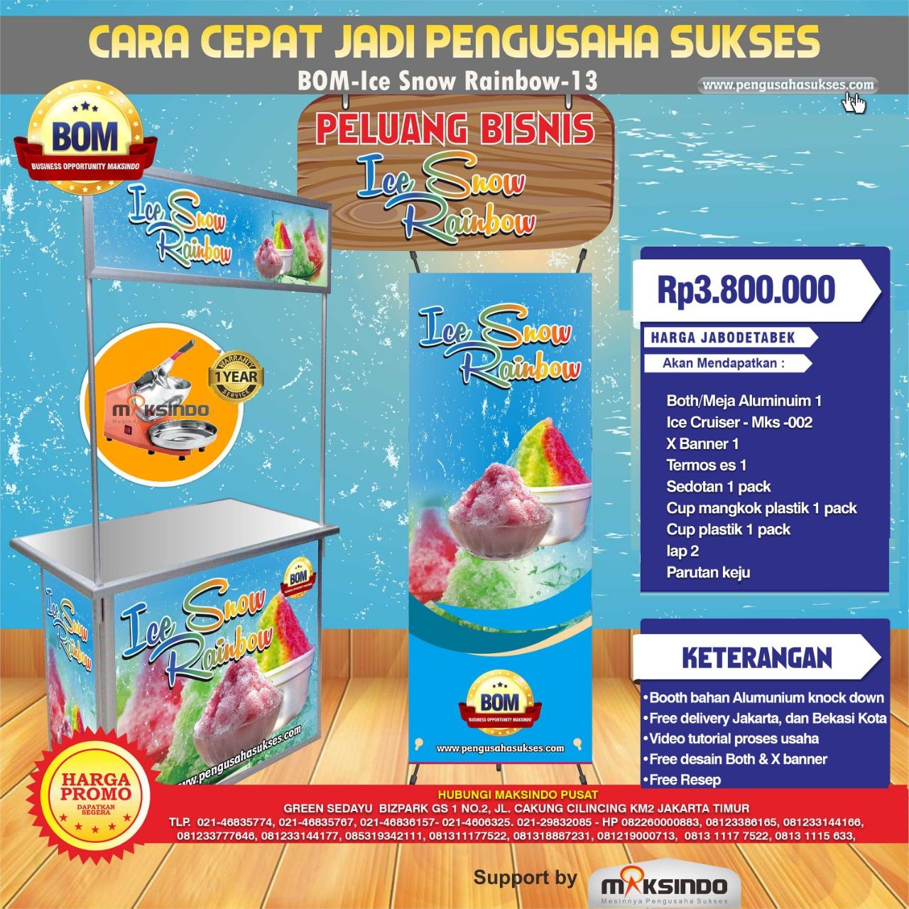 Paket Usaha Ice Snow Rainbow MKS-002 Program BOM