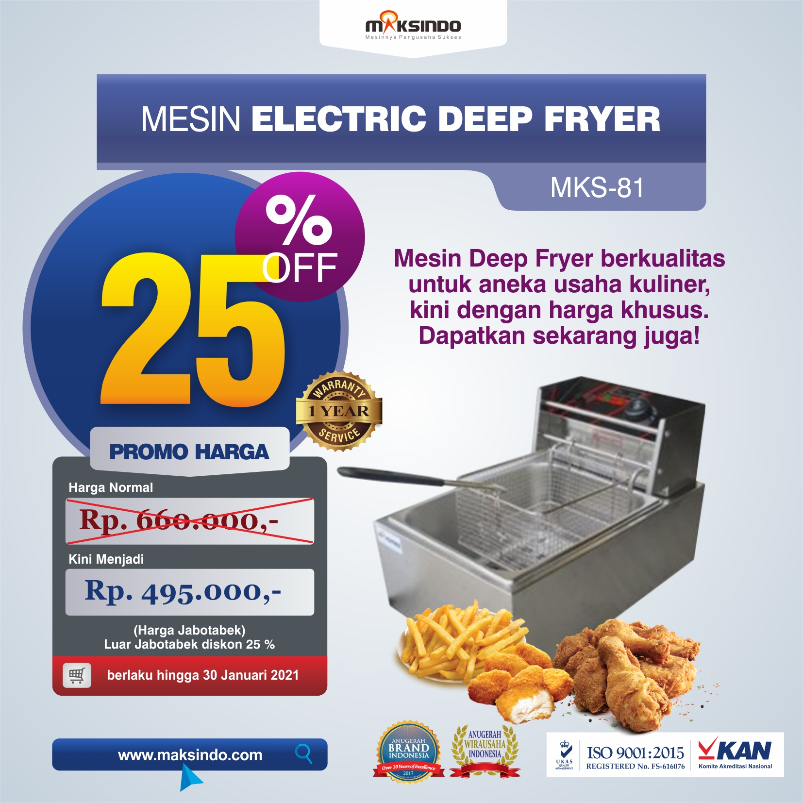 Mesin Electric Deep Fryer MKS-81