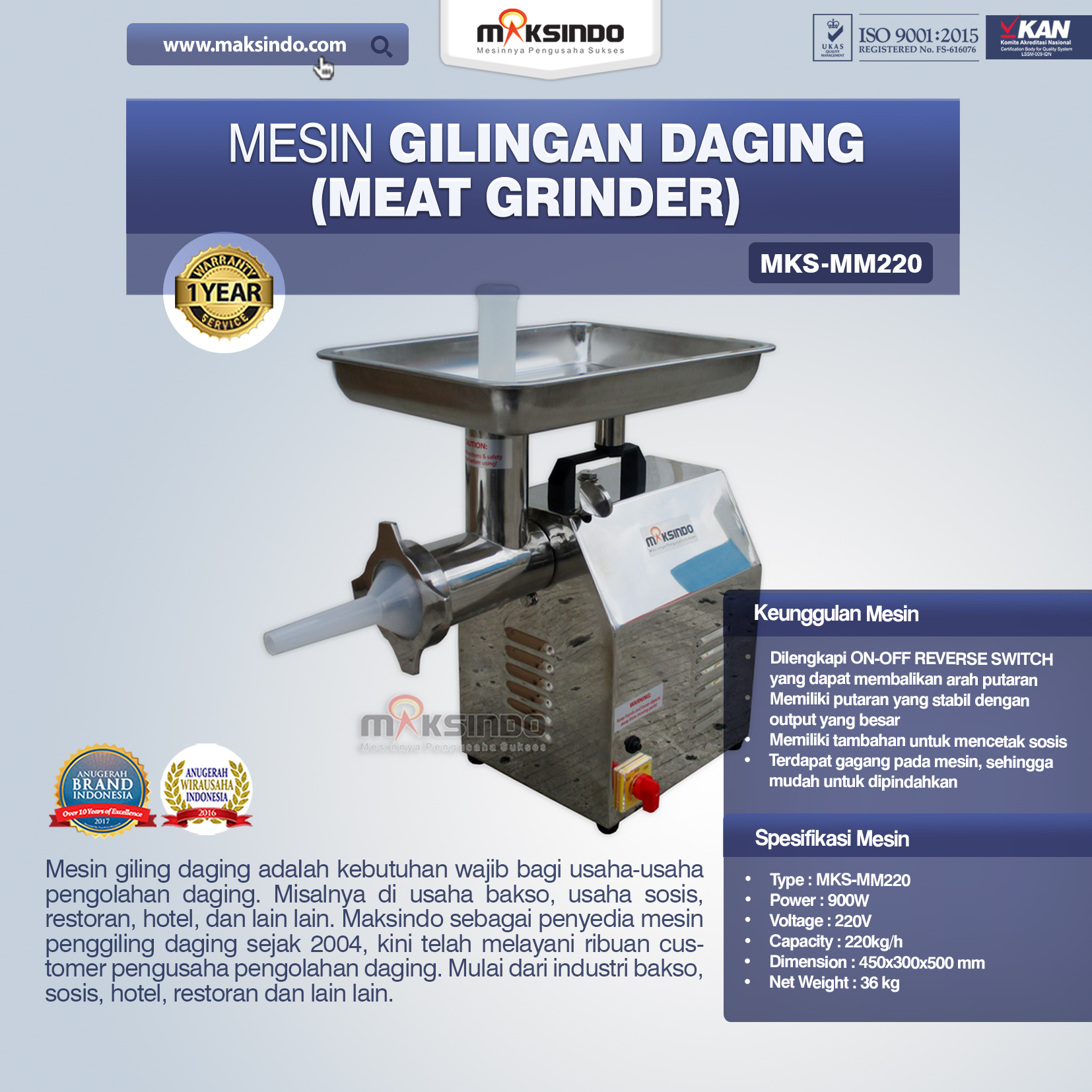 Mesin Giling Daging (Meat Grinder) MKS-MM220