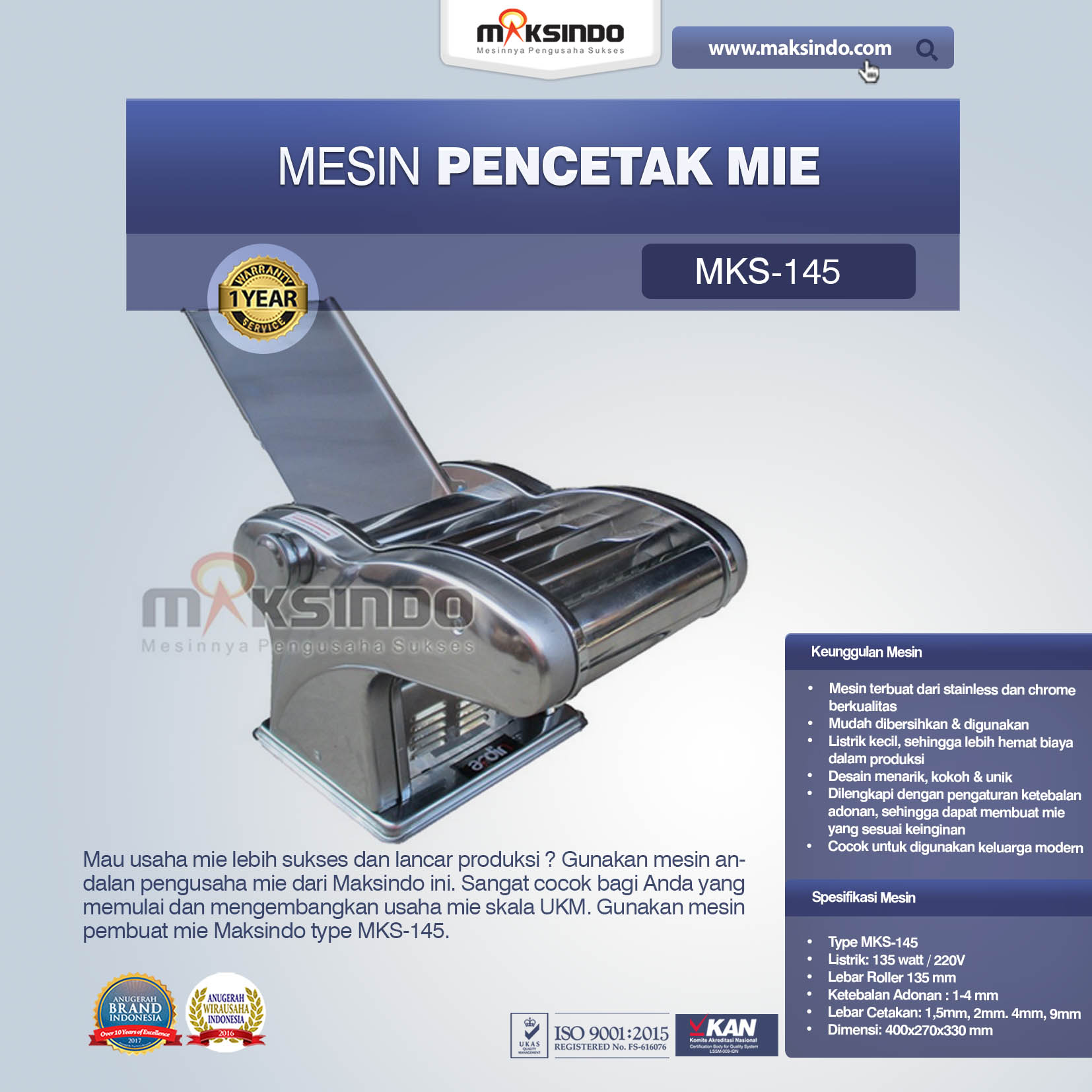 Mesin Cetak Mie (MKS-145)