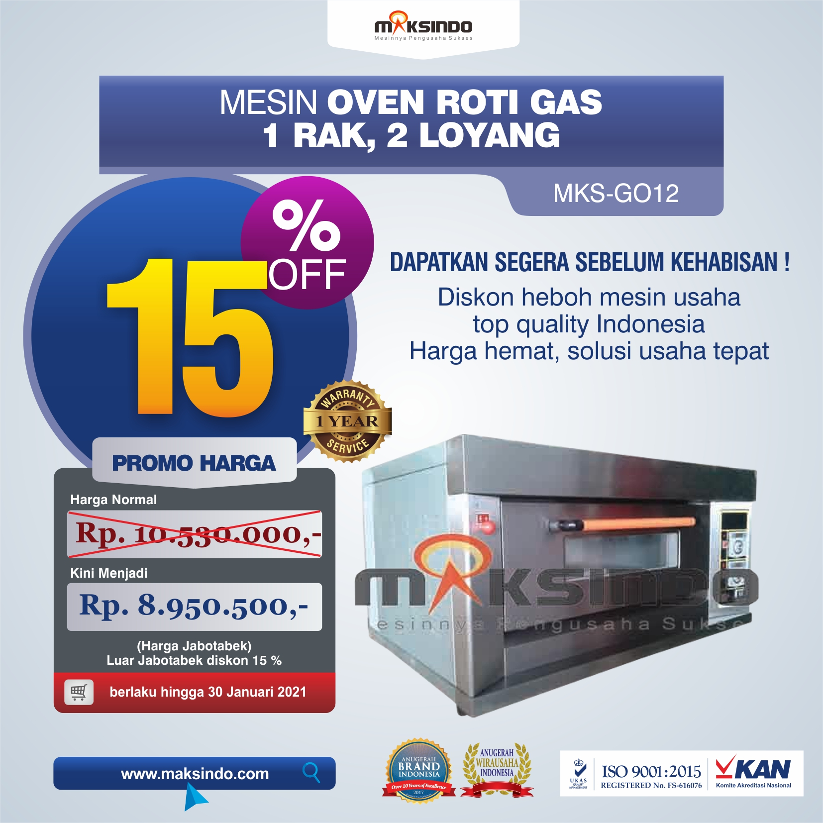 Mesin Oven Gas 2 Loyang (MKS-GO12)