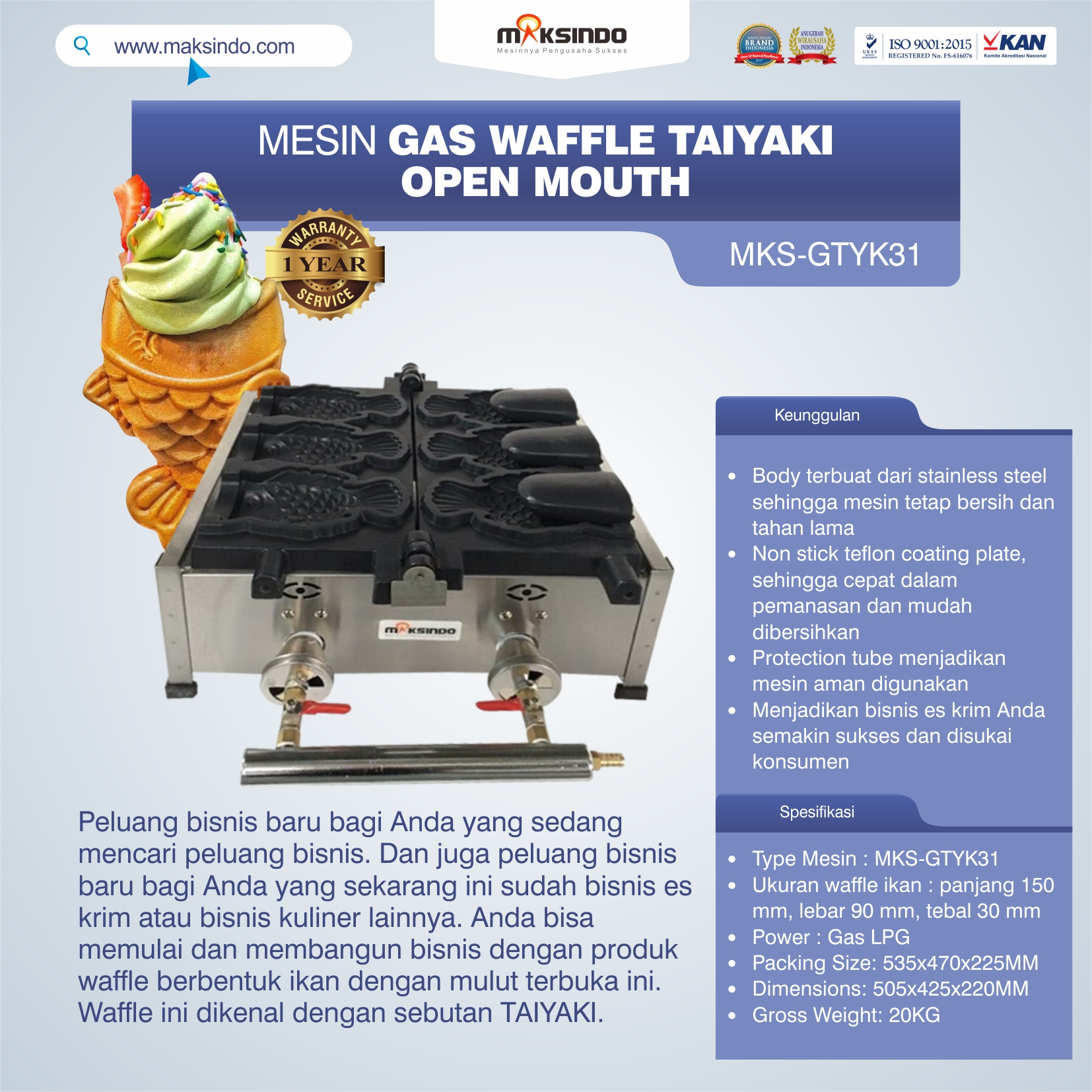 Mesin Gas Waffle Taiyaki Open Mouth (GTYK31)