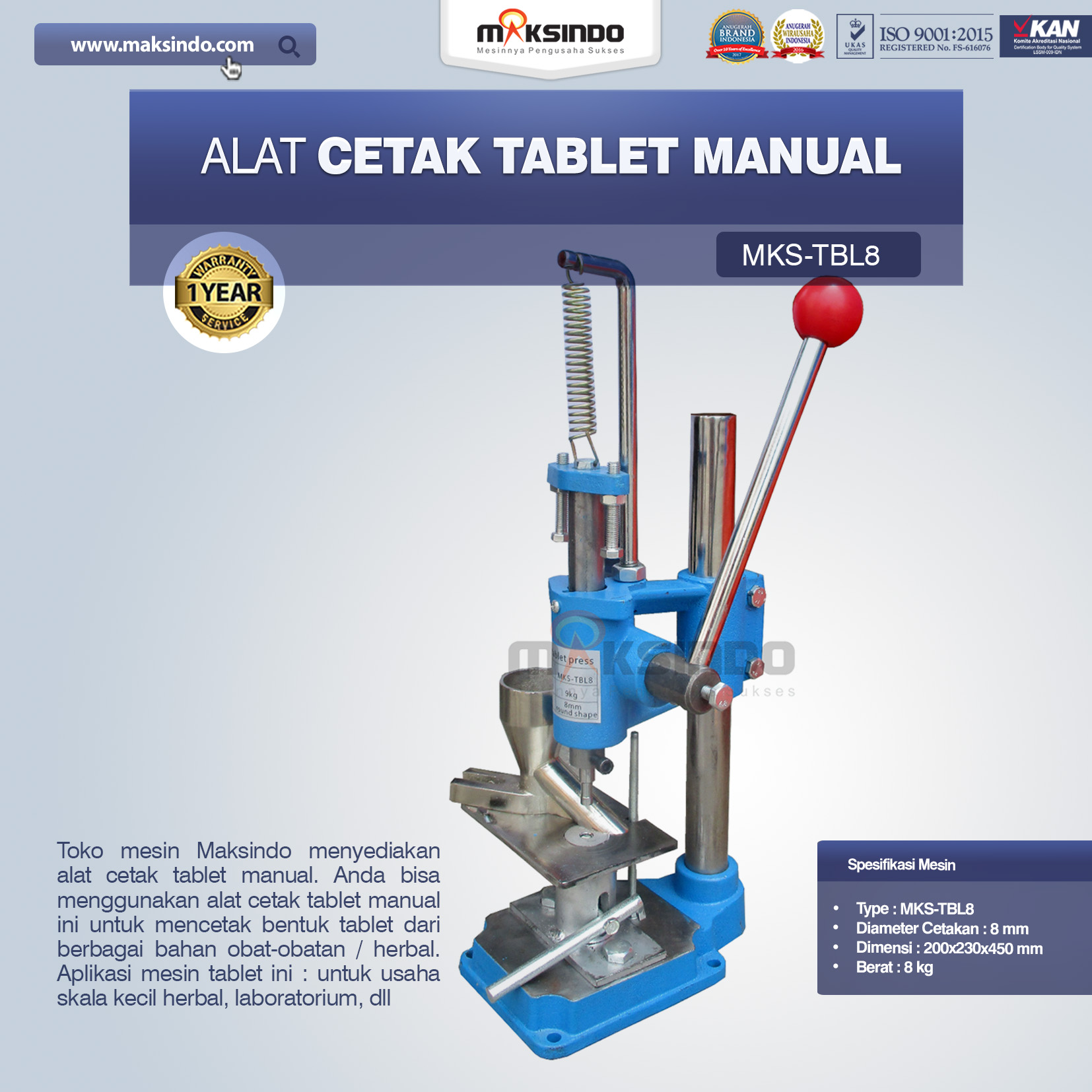 Alat Cetak Tablet Manual MKS-TBL8