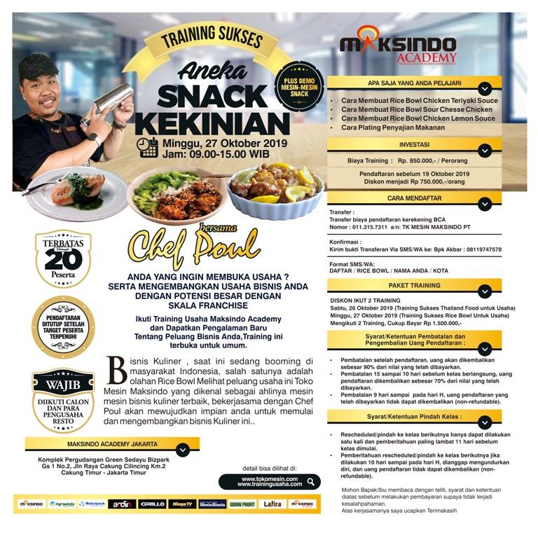 Training Usaha Aneka Snack Kekinian, Minggu 27 Oktober 2019