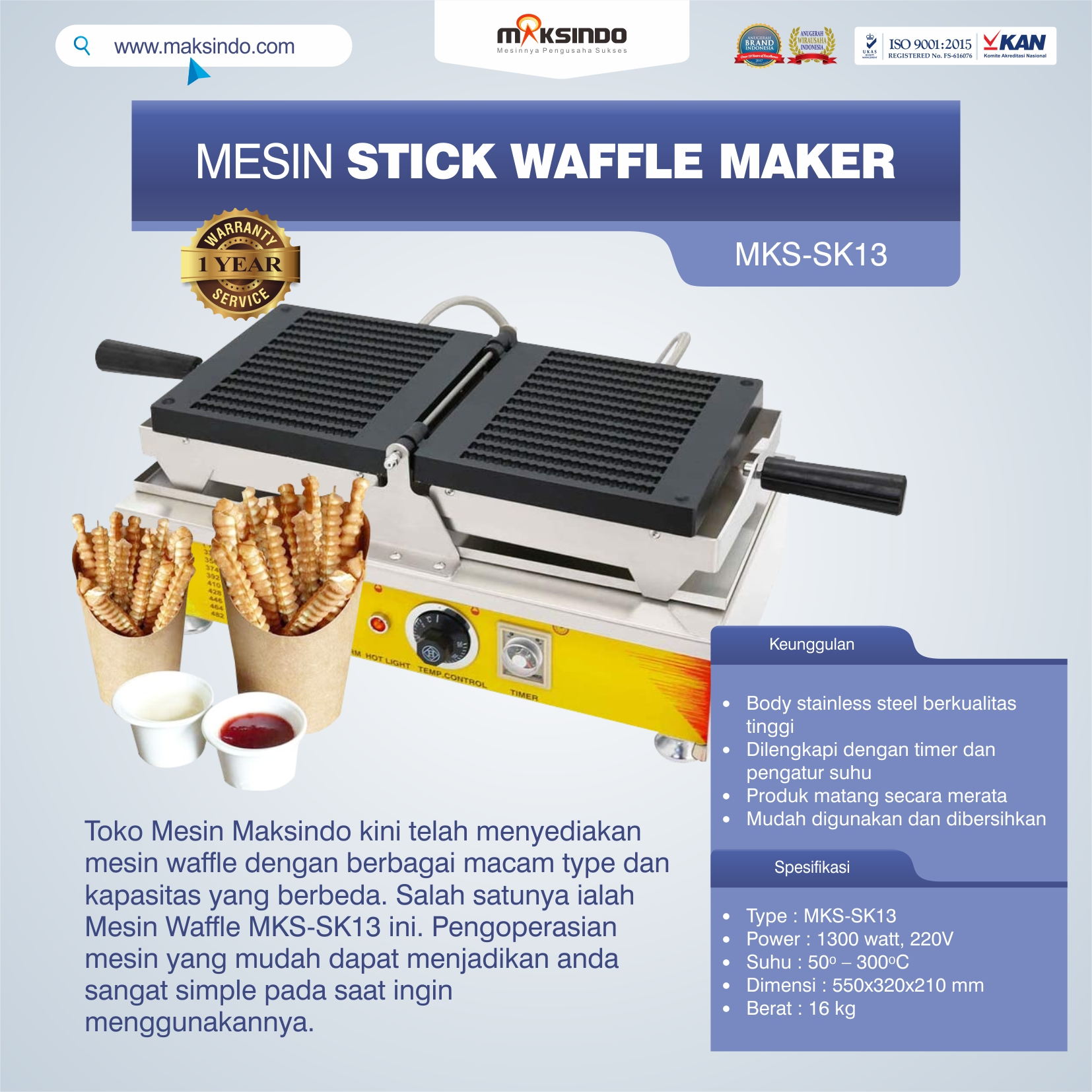 Mesin Waffle Bentuk Lollipop (Waffle Maker) MKS-SK13