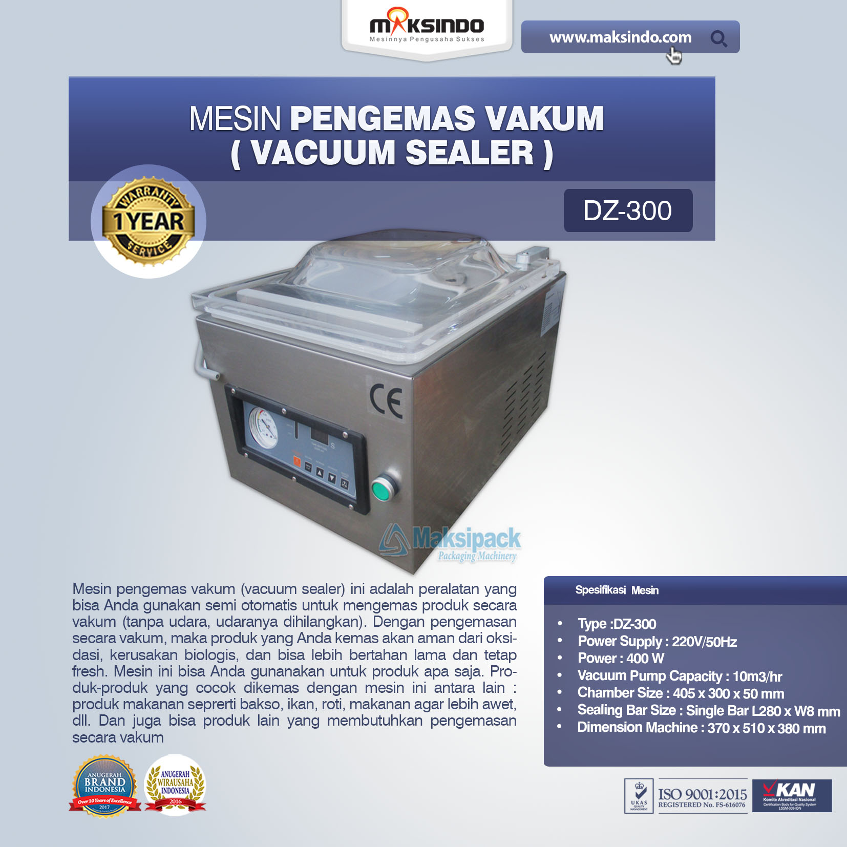 Mesin Vacuum Sealer Singgle Seal DZ-300