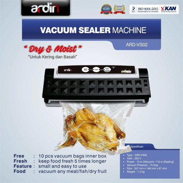 Mesin Vacuum Sealer VS02 Ardin (basah dan kering)
